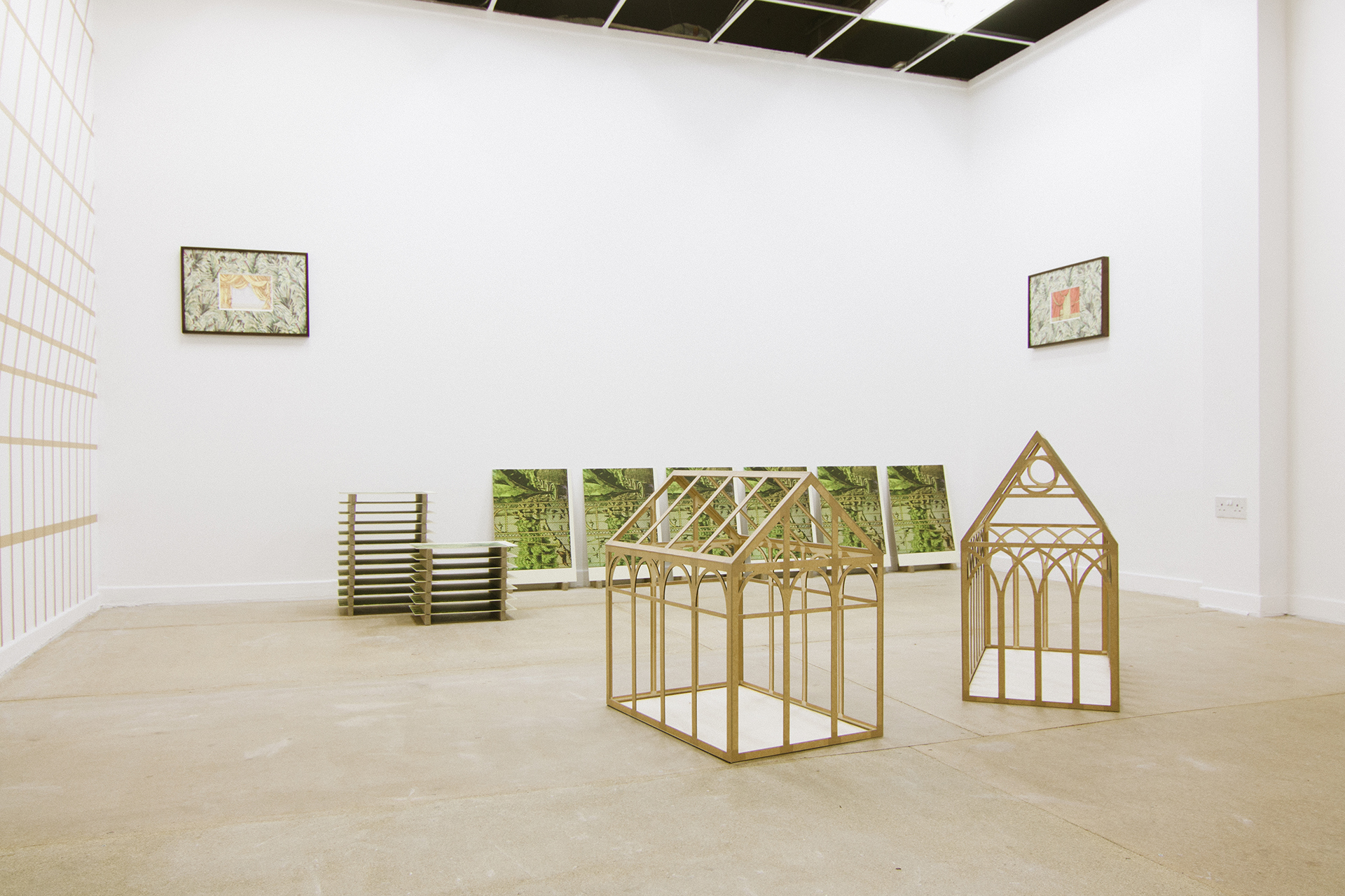 Elizabeth Corkery, Small Decors (installation view), 2014, Plywood, screenprint on MDF, gouche on paper, tape. Dimensions variable
