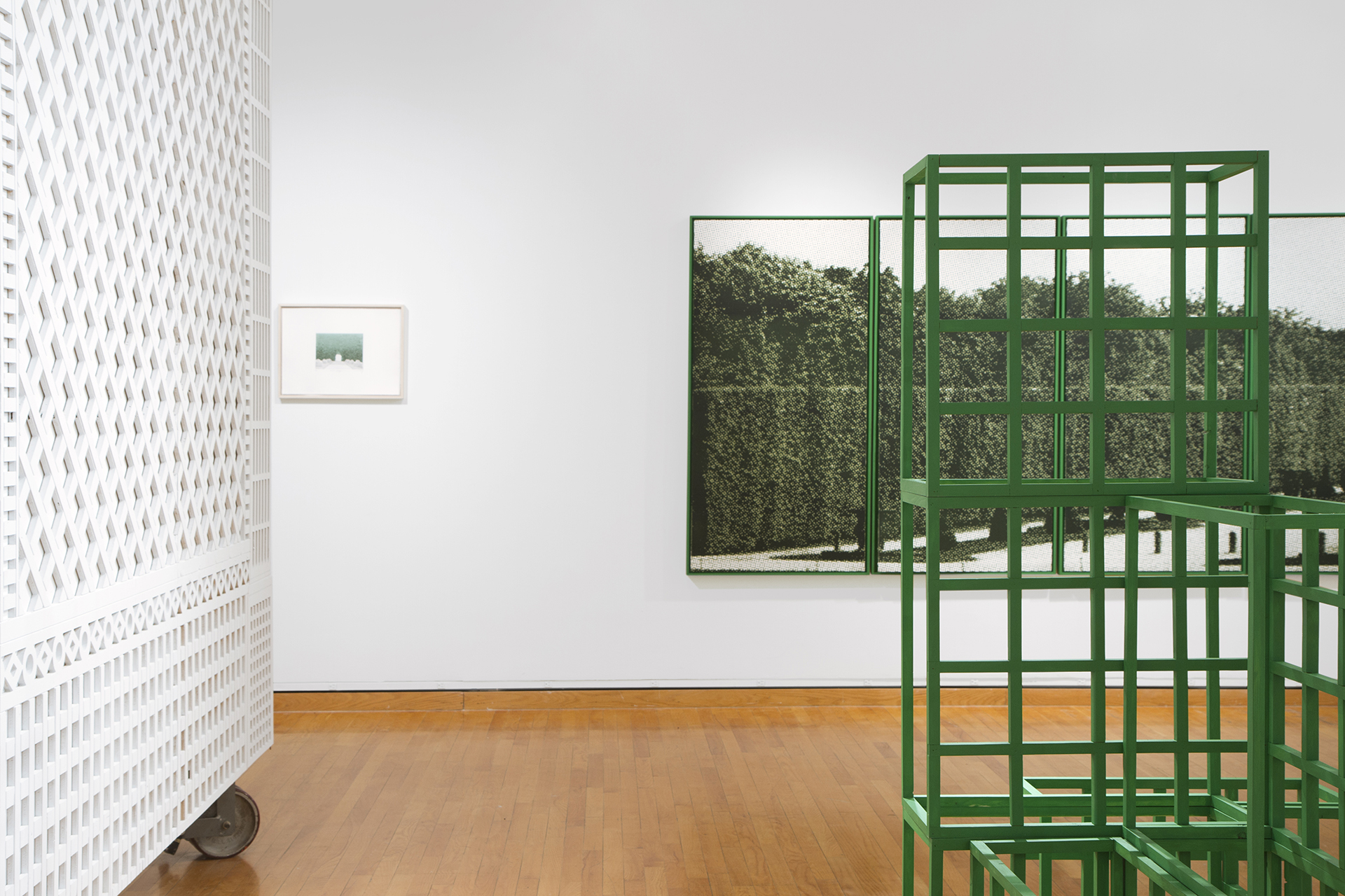 Elizabeth Corkery, Nowhere is There a Garden (installation view), 2013, Wood, screenprint on paper, etching on paper, CNC milled plywood.