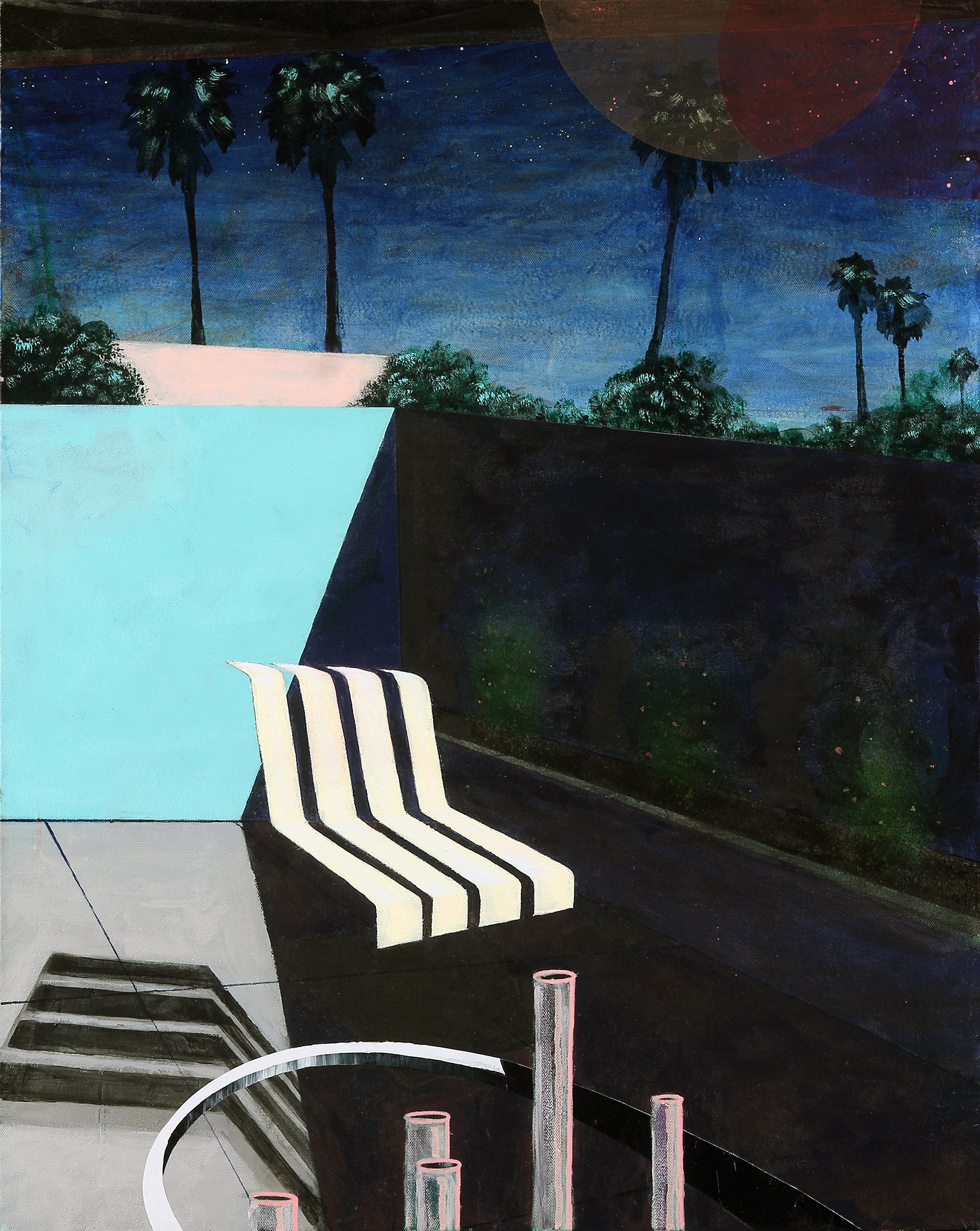 Exterior with Chair after Richard, 2017, Acrylic, spray paint, marker on canvas, 30 x 24 inches