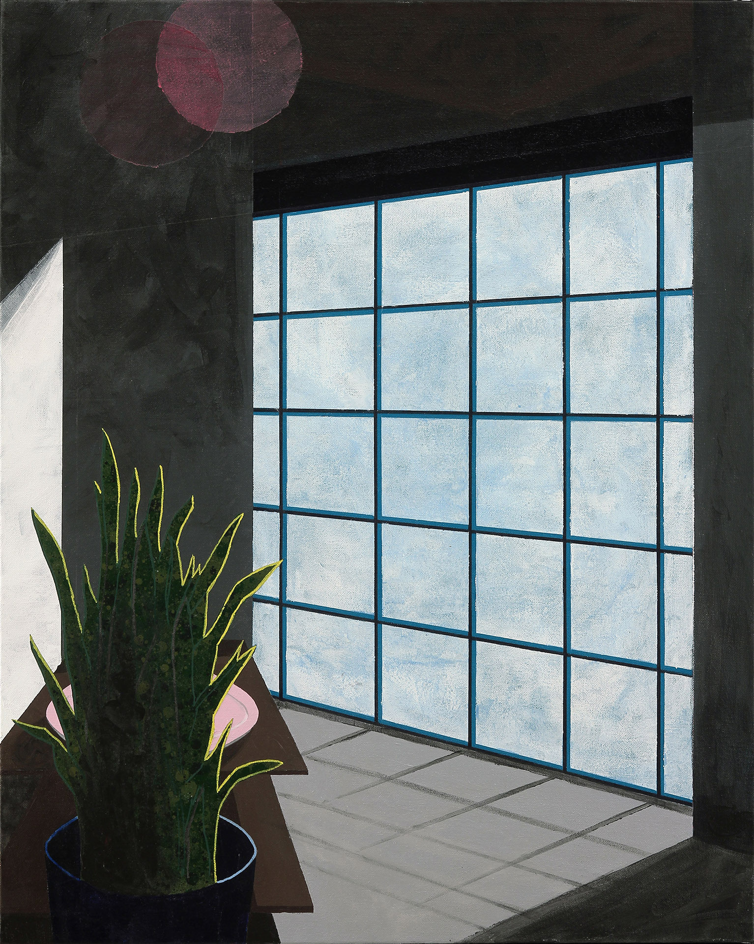 Window, 2017, Acrylic, spray paint, marker on canvas, 30 x 24 inches