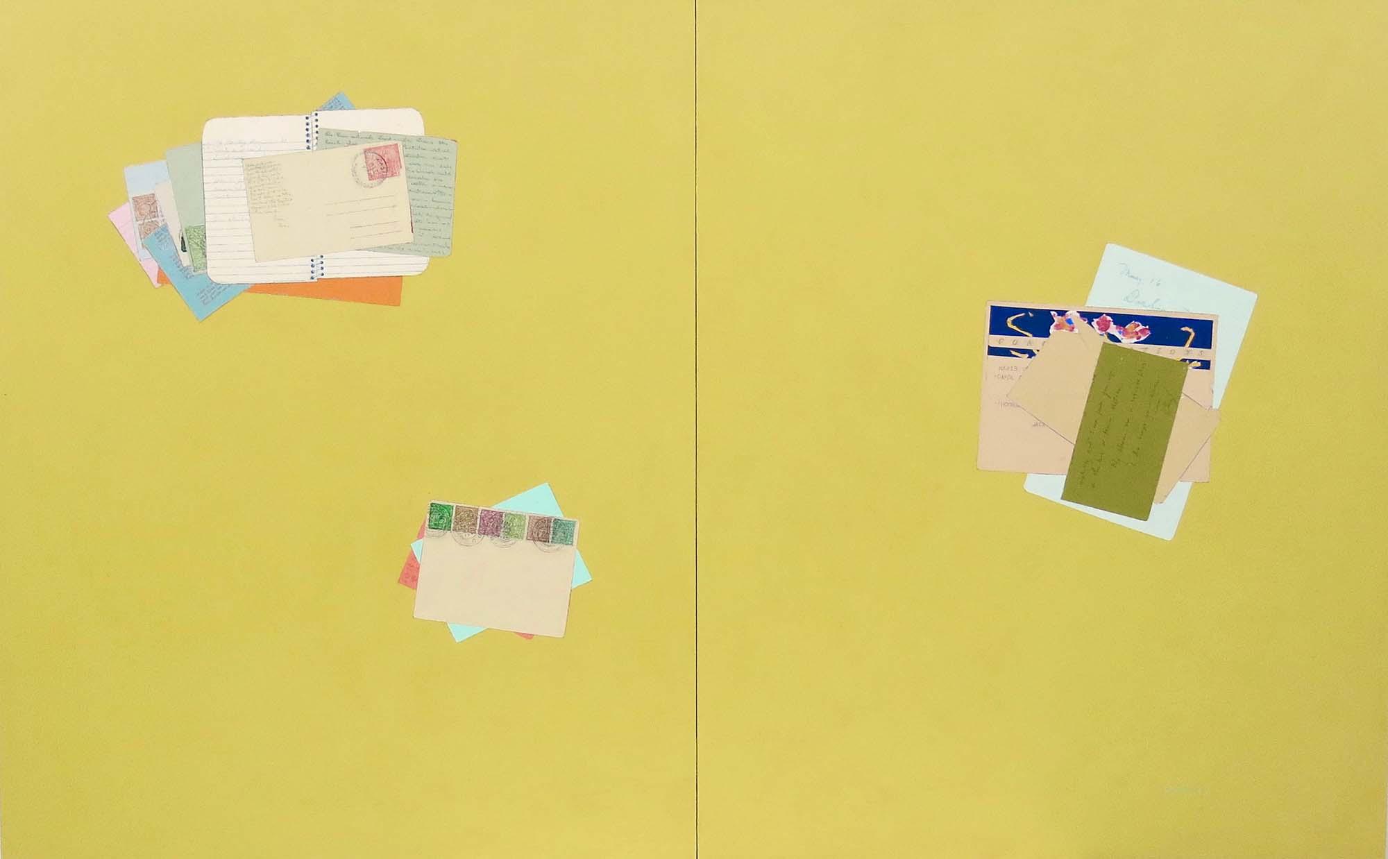 Fern T. Apfel, The telegram, Acrylic & pen on 2 wood panels, 30