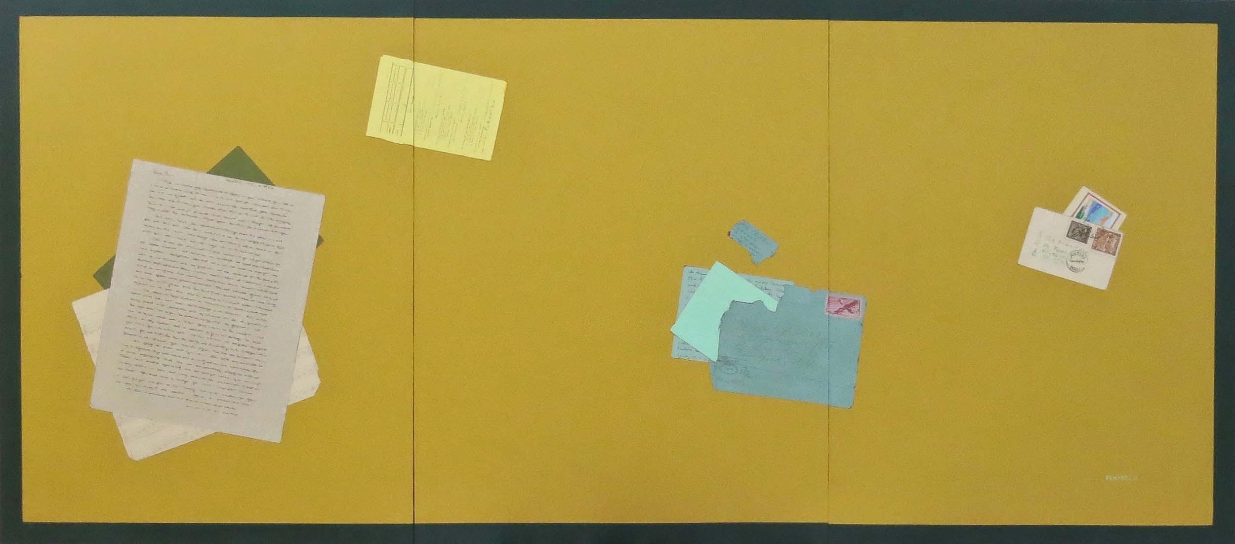 Fern T. Apfel, Golden, Acrylic & pen on 3 wood panels, 24