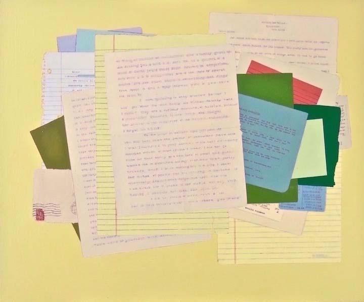 Fern T. Apfel, Domestic Fiction, Acrylic & pen on wood panel, 20