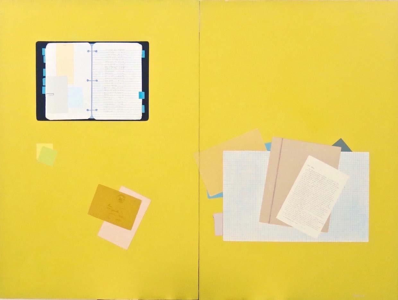 Fern T. Apfel, The Binder, Acrylic & pen on 2 wood panels, 36