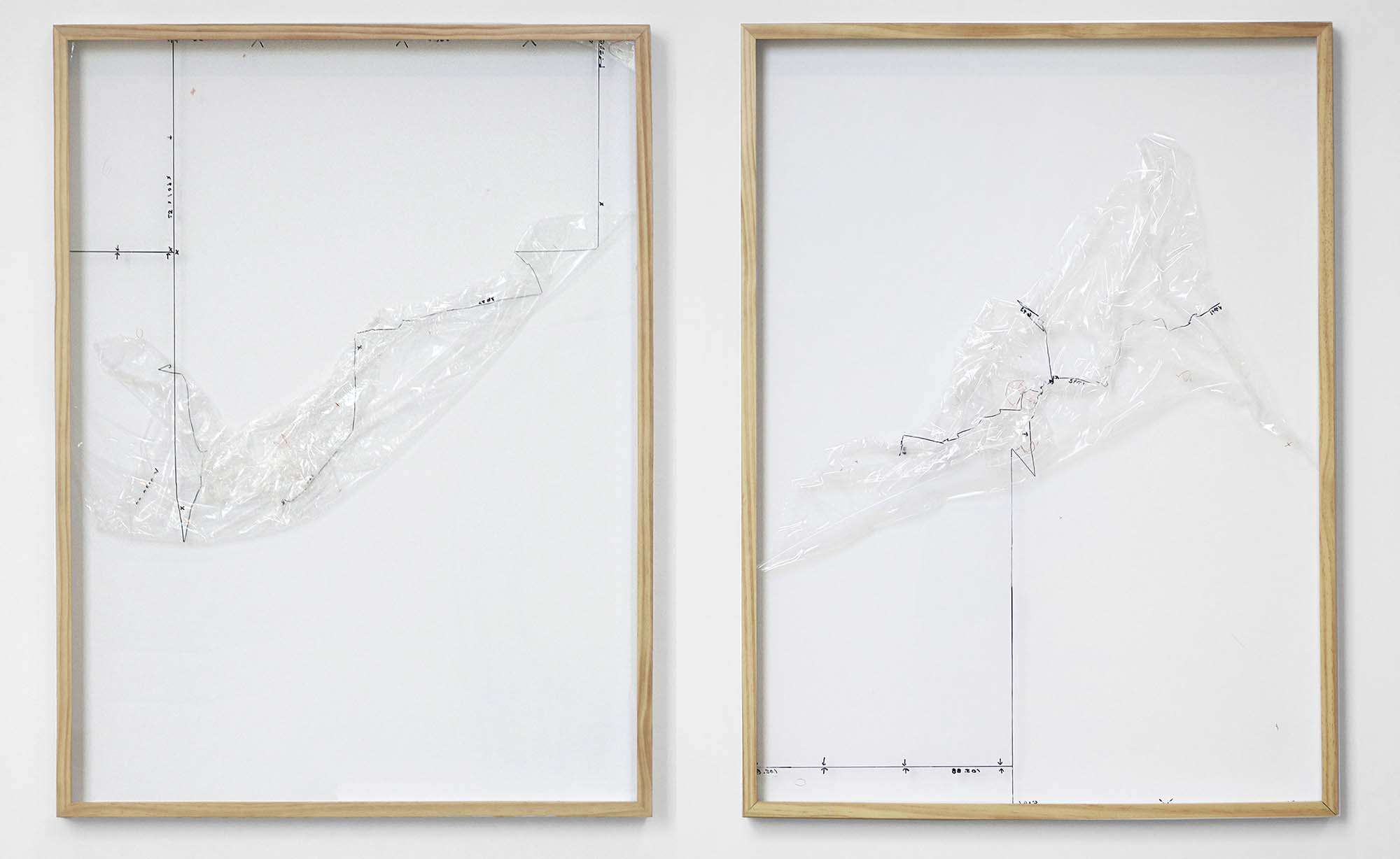 "altered architectural drafting paper and graphite in artist frames 25"" x 51"""