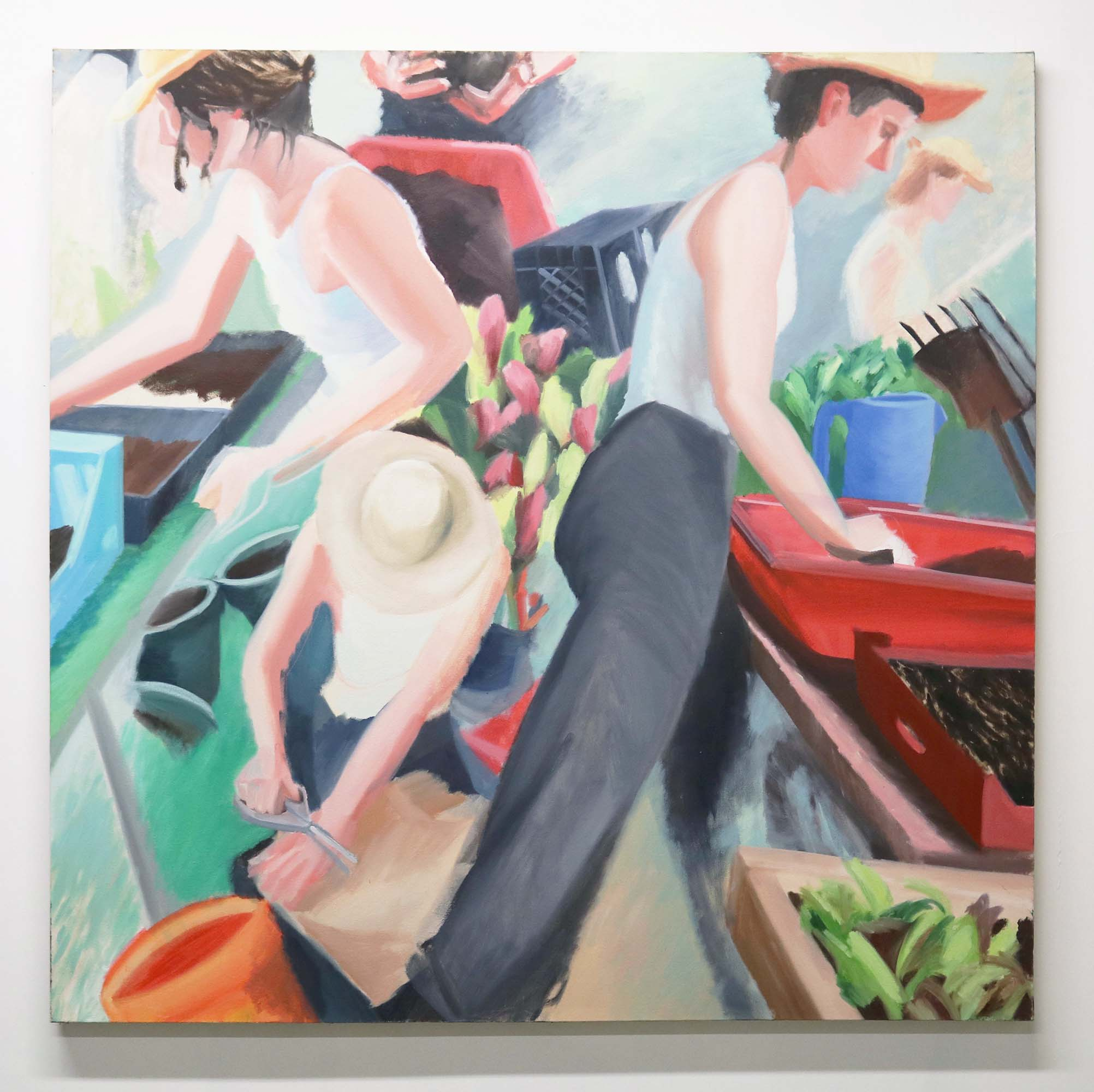 Grace Mattingly, Molly in the Greenhouse, Oil on canvas, 60