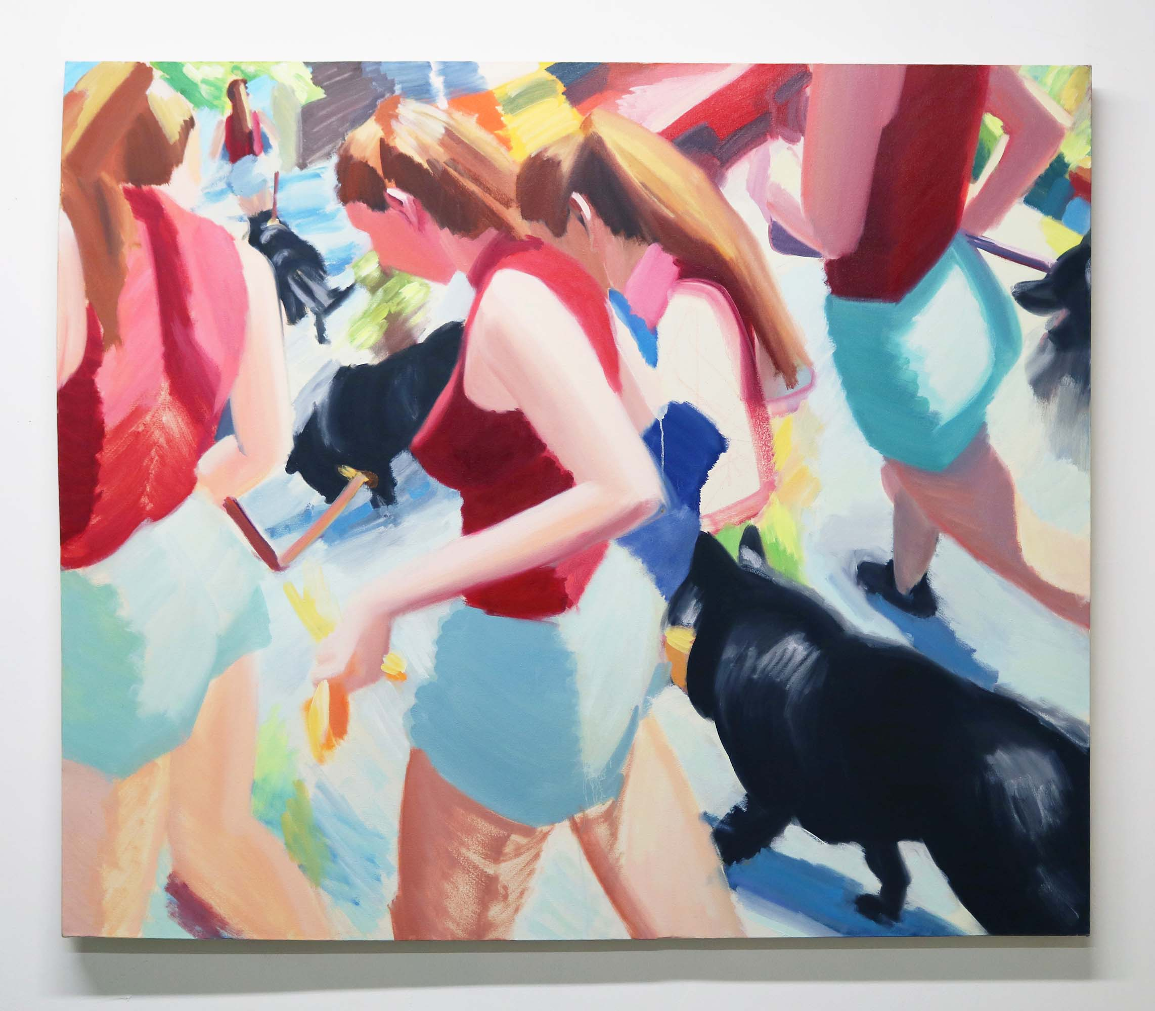Grace Mattingly, Kirby Dog-Walking on a Hot Day in June, Oil on canvas, 52