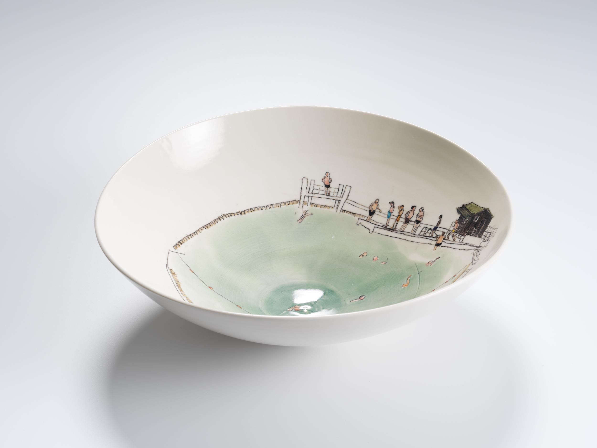 Men's Pond at Hampstead, 2018, wheel-thrown and hand-painted porcelain, 35cm diameter