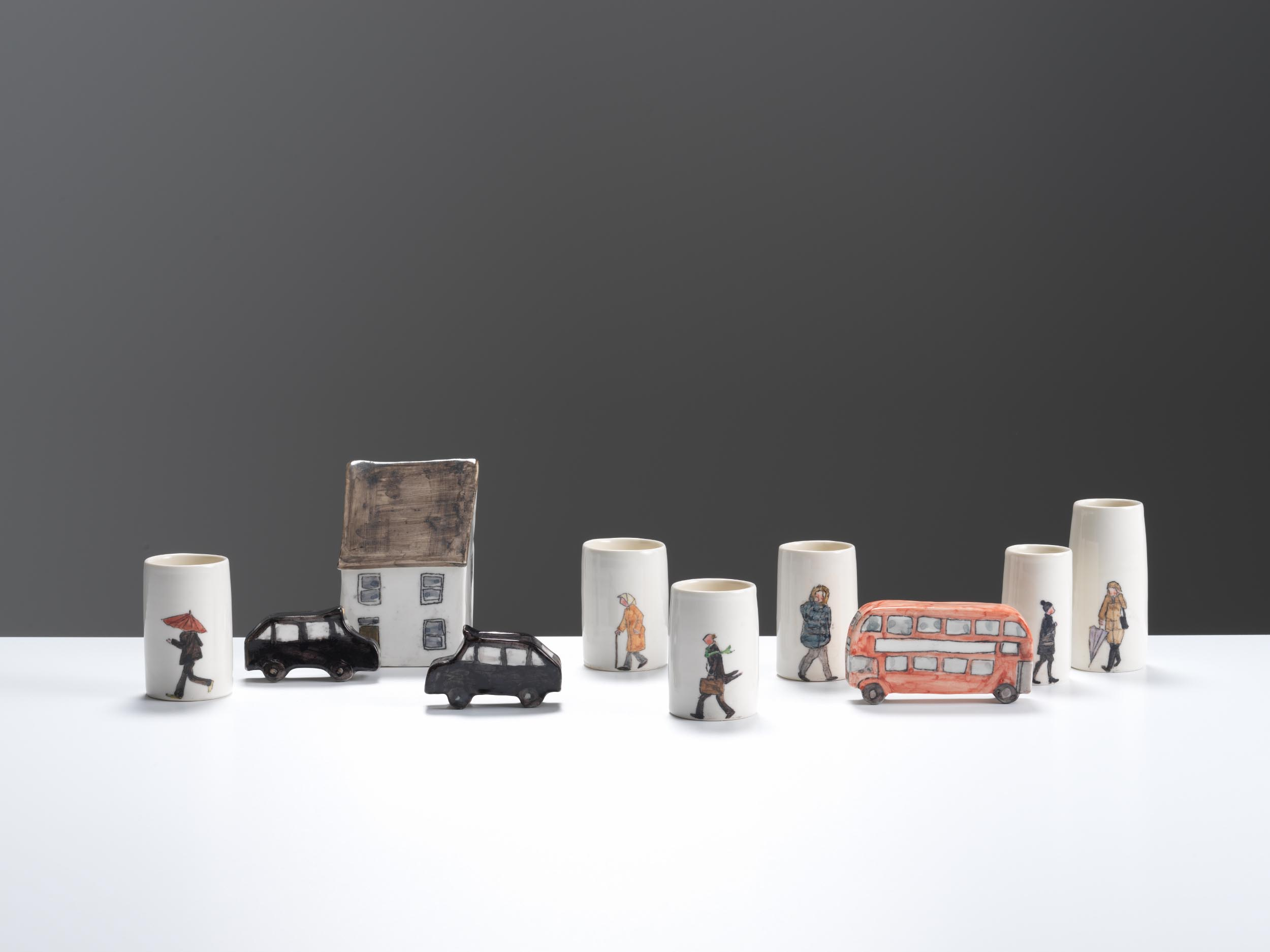 London Rain, 2018, wheel-thrown and hand-built, hand-painted porcelain, 10-15cm height (various pieces)