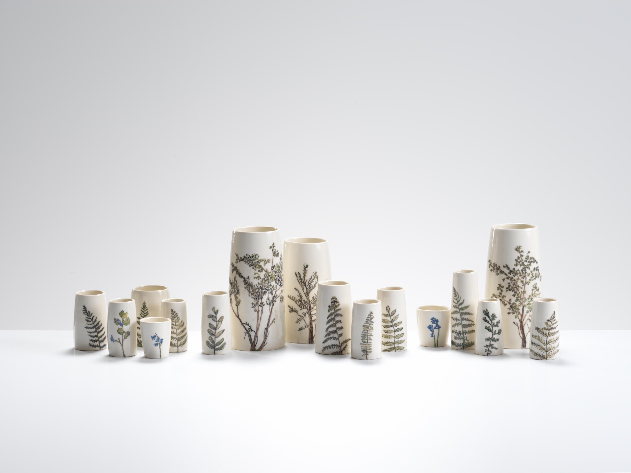 Plant life at Highgate Woods, 2018, wheel-thrown and hand-painted porcelain, 10-30cm height (various pieces)