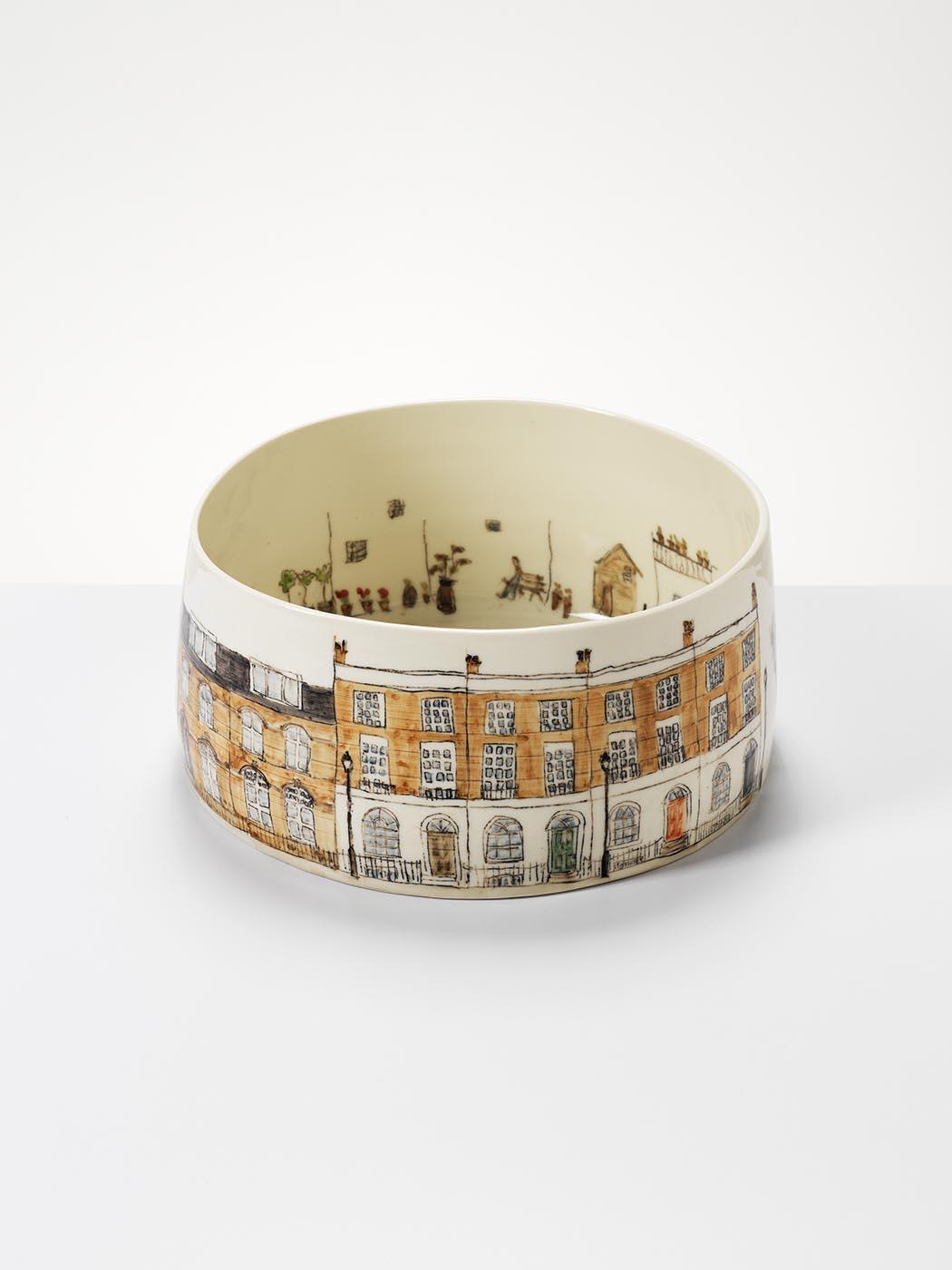 Georgian Terrace, 2017, wheel-thrown and hand-painted porcelain, 35cm diameter