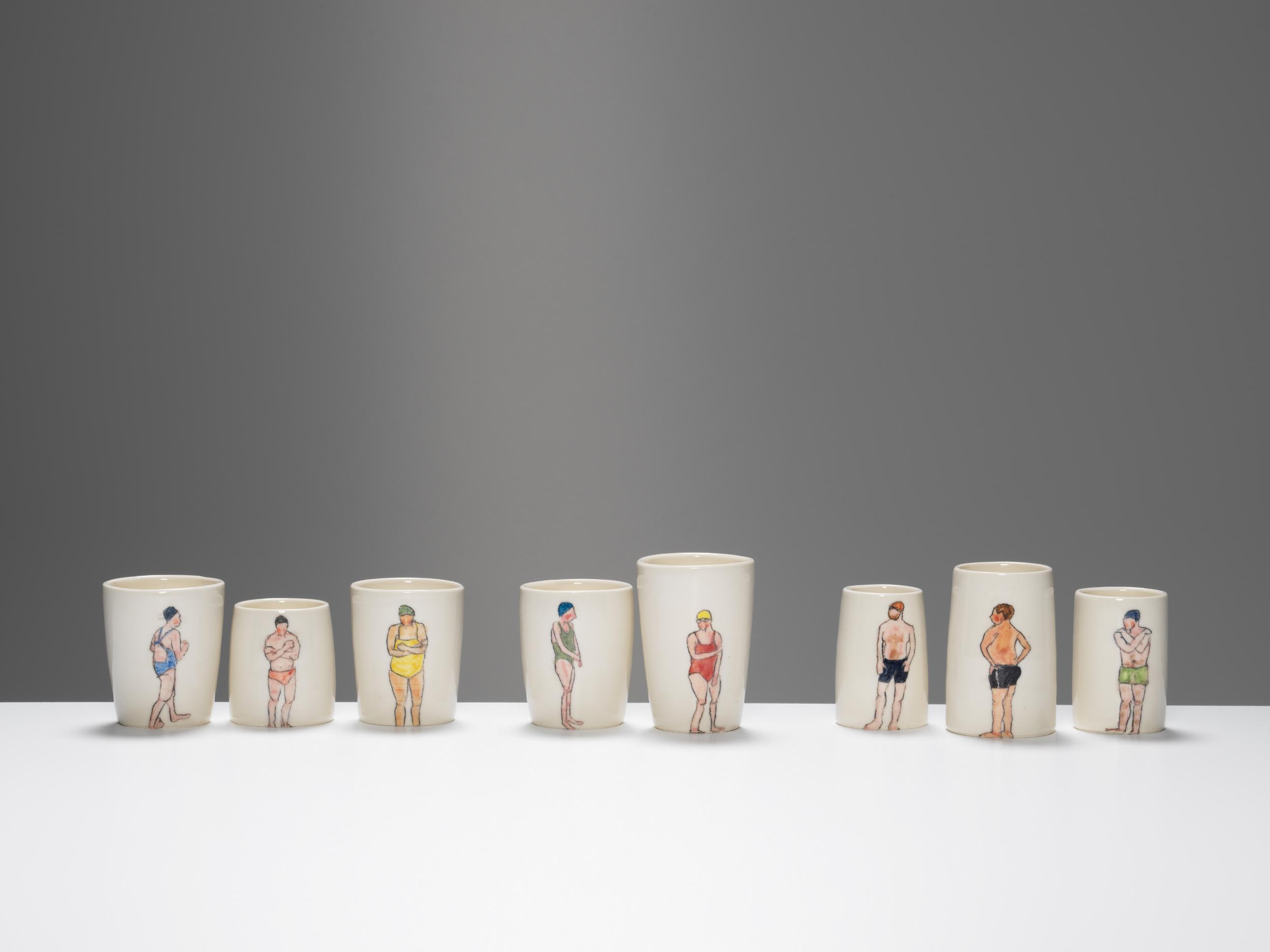 Tiny Swimmers, 2018, wheel-thrown and hand-painted porcelain, 10-15cm height (various pieces)