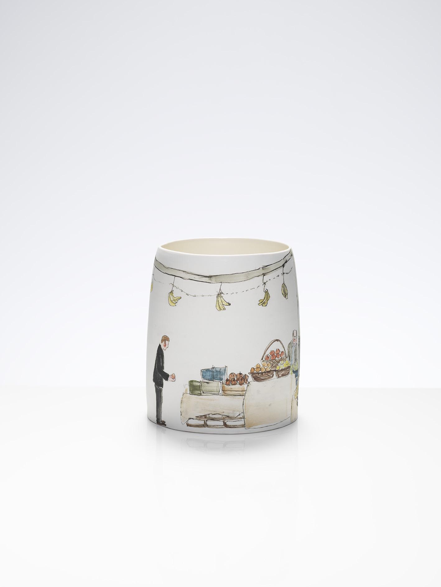 Vegetable Picking at Borough Market, 2012, wheel-thrown and hand-painted porcelain, 25cm height