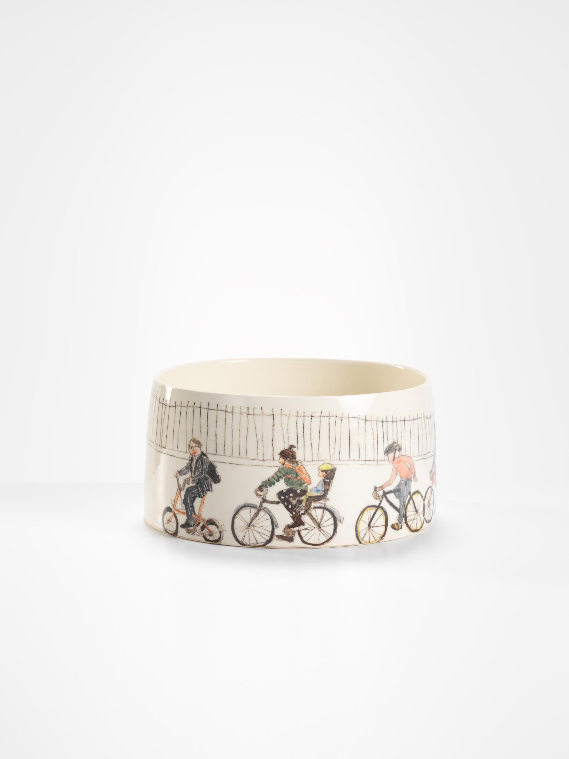 London cyclists, 2017, wheel-thrown and hand-painted porcelain, 30cm diameter
