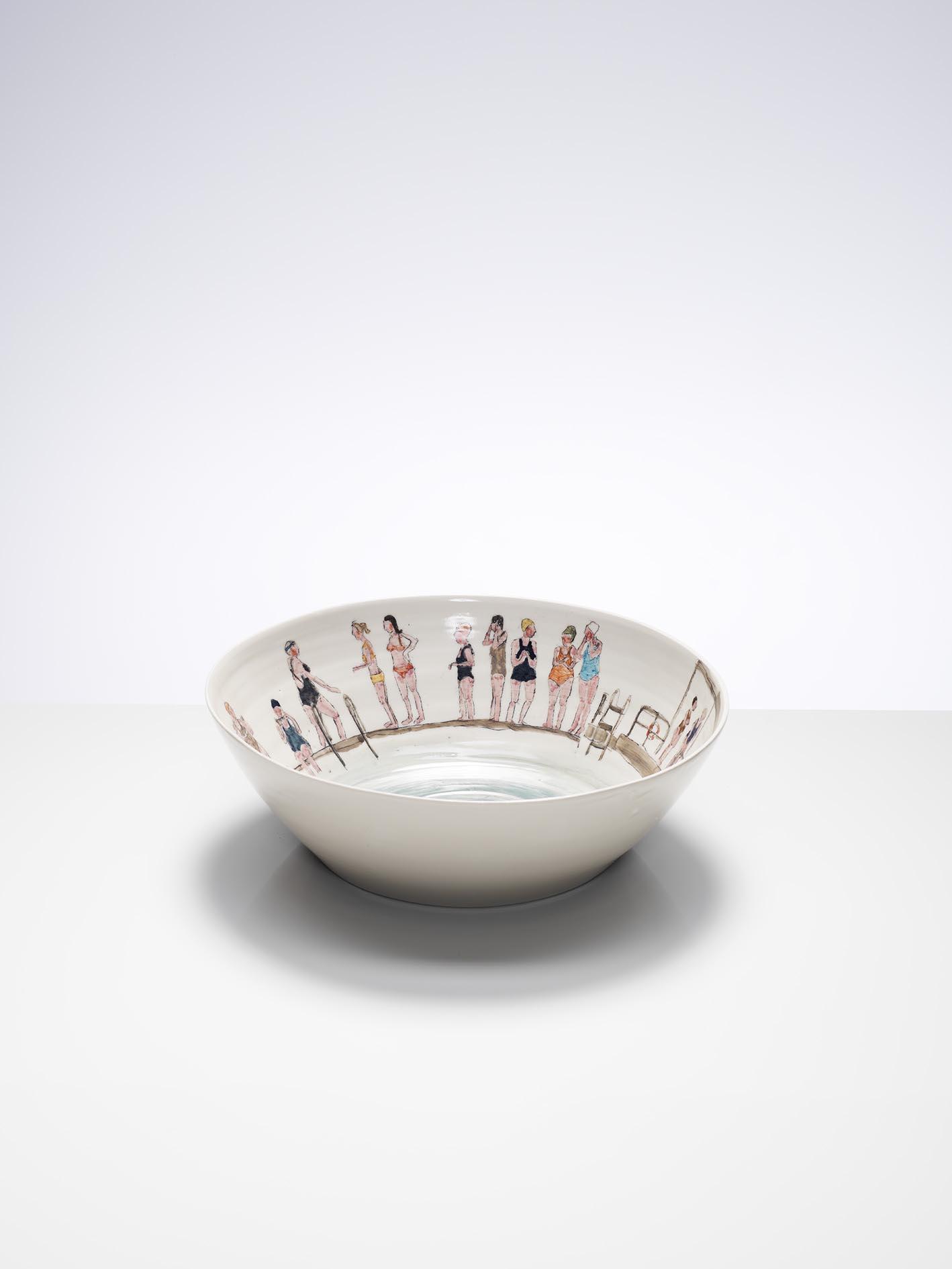 Ladies' Pond at Hampstead, 2017, wheel-thrown and hand-painted porcelain, 35cm diameter