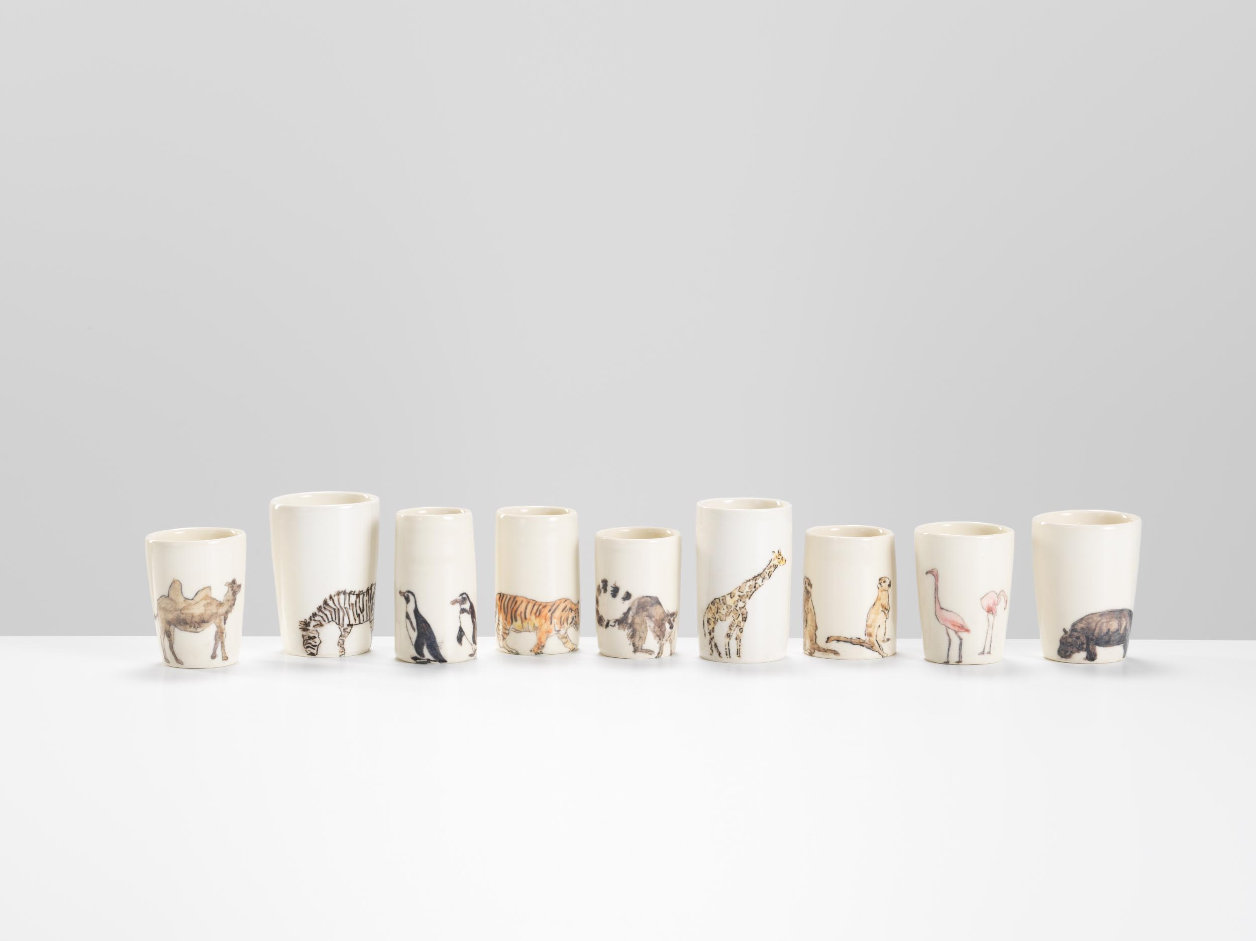 Creatures at London Zoo, 2018, wheel-thrown and hand-painted porcelain, 10-15cm height (various pieces)