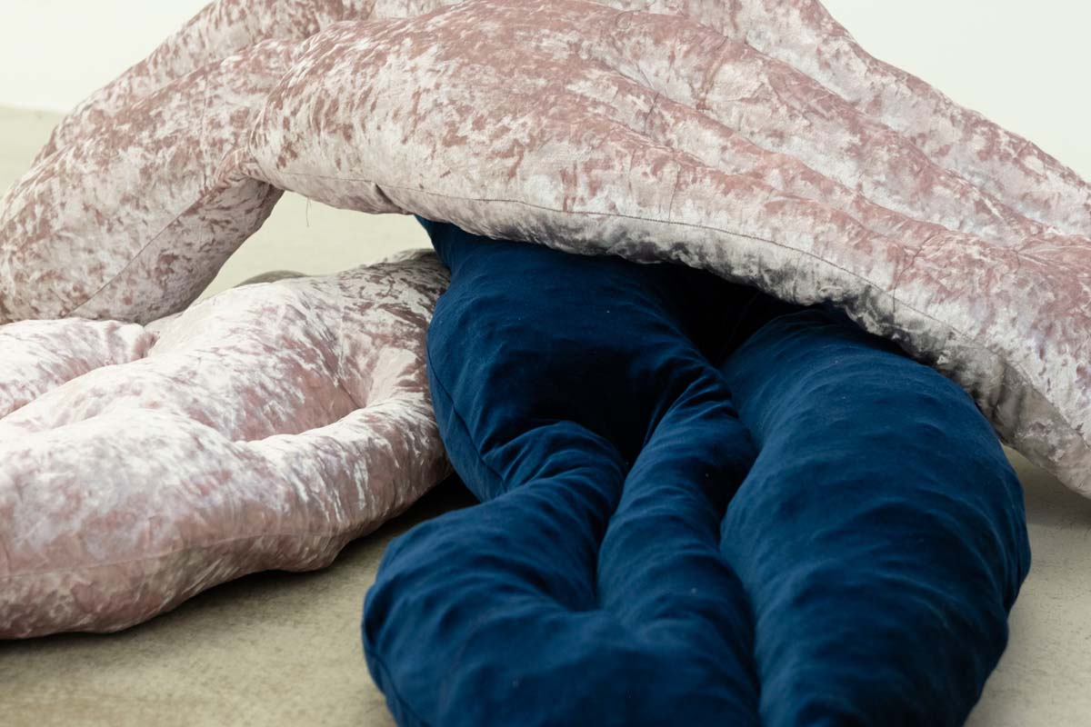 Isabel Yellin, Detail, Cuddle Puddle, Velvet, Stuffing, 2018