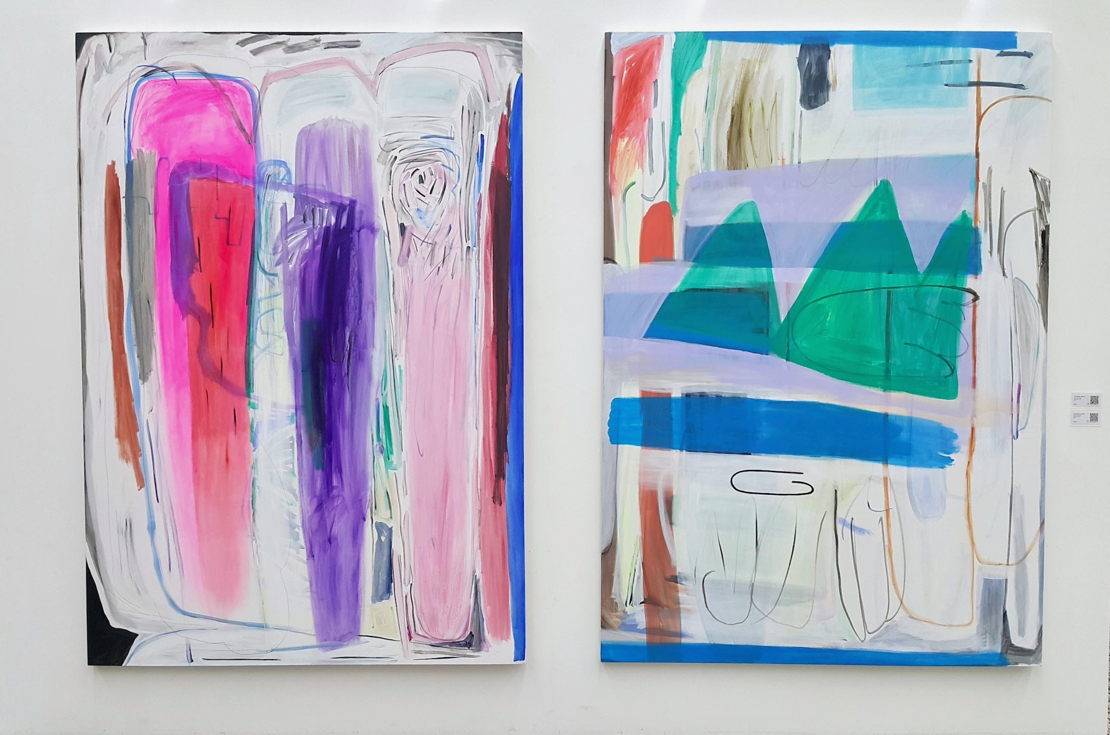 Jae Jo, Dismantling Mass132(right)Dismantling Mass131(left),2018,acrylic on canvas,200x140cm