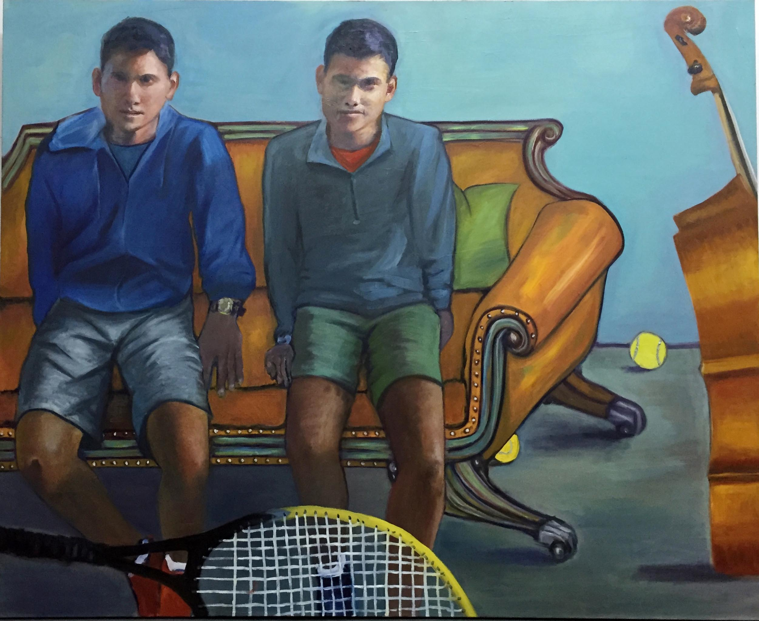 Twins by Jessica Alazraki, 2016, Oil on Canvas, 48x60 inches, sold