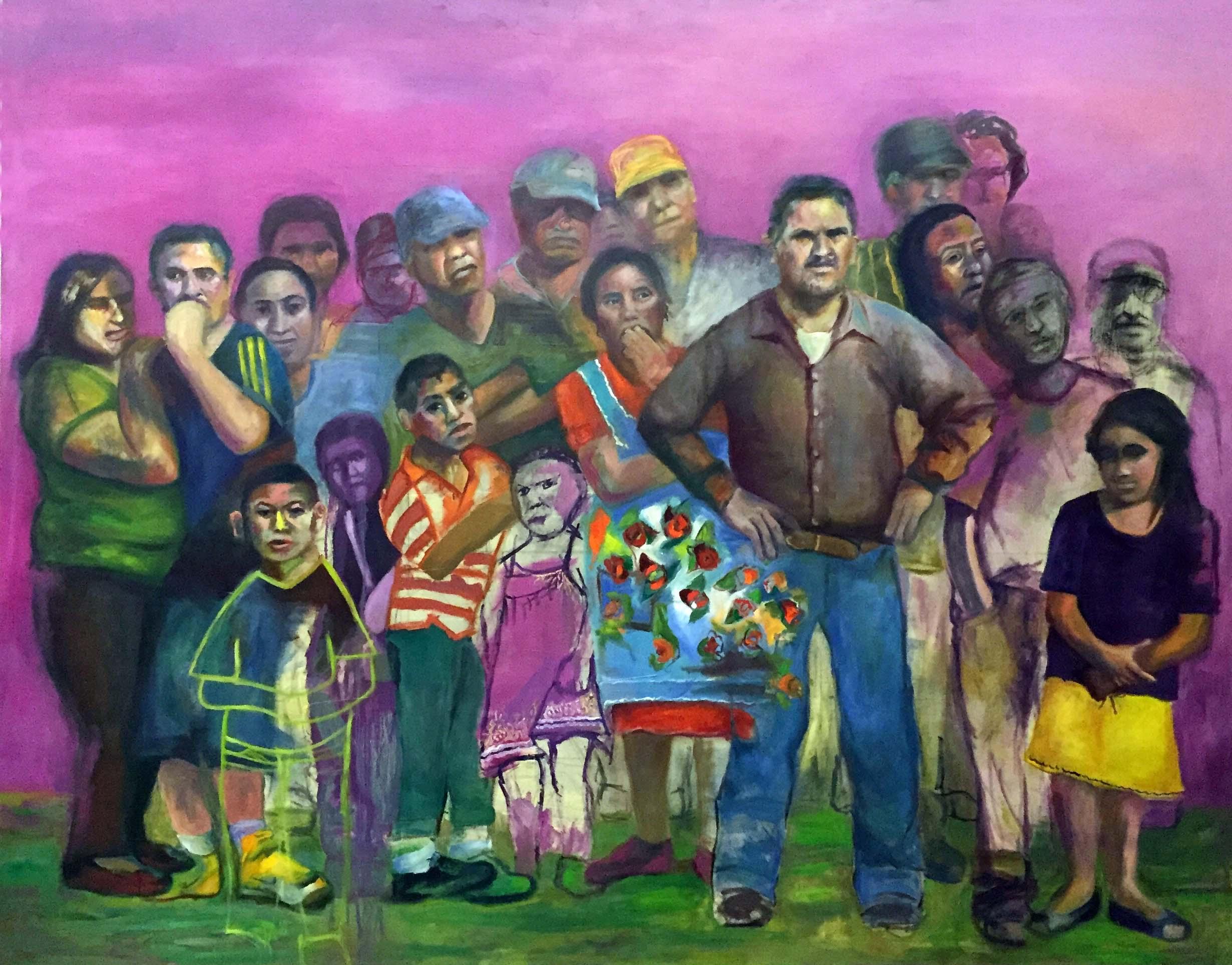 Crowd by Jessica Alazraki, 2016, Oil on Canvas, 72x690 inches, for sale