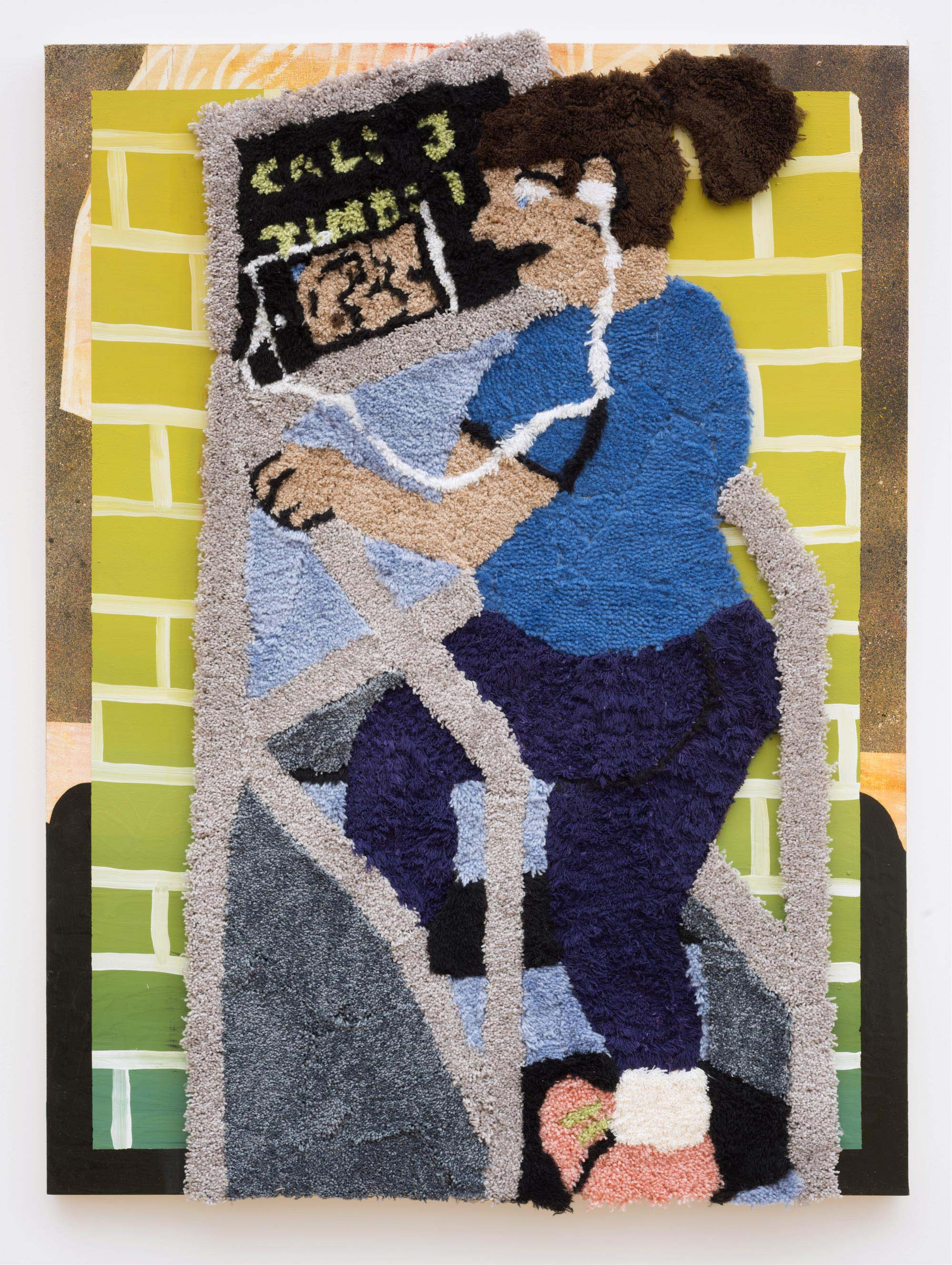 Jessica Campbell, Watching My 600-Lb Life at the Gym, Acrylic rug and oil on panel, 48