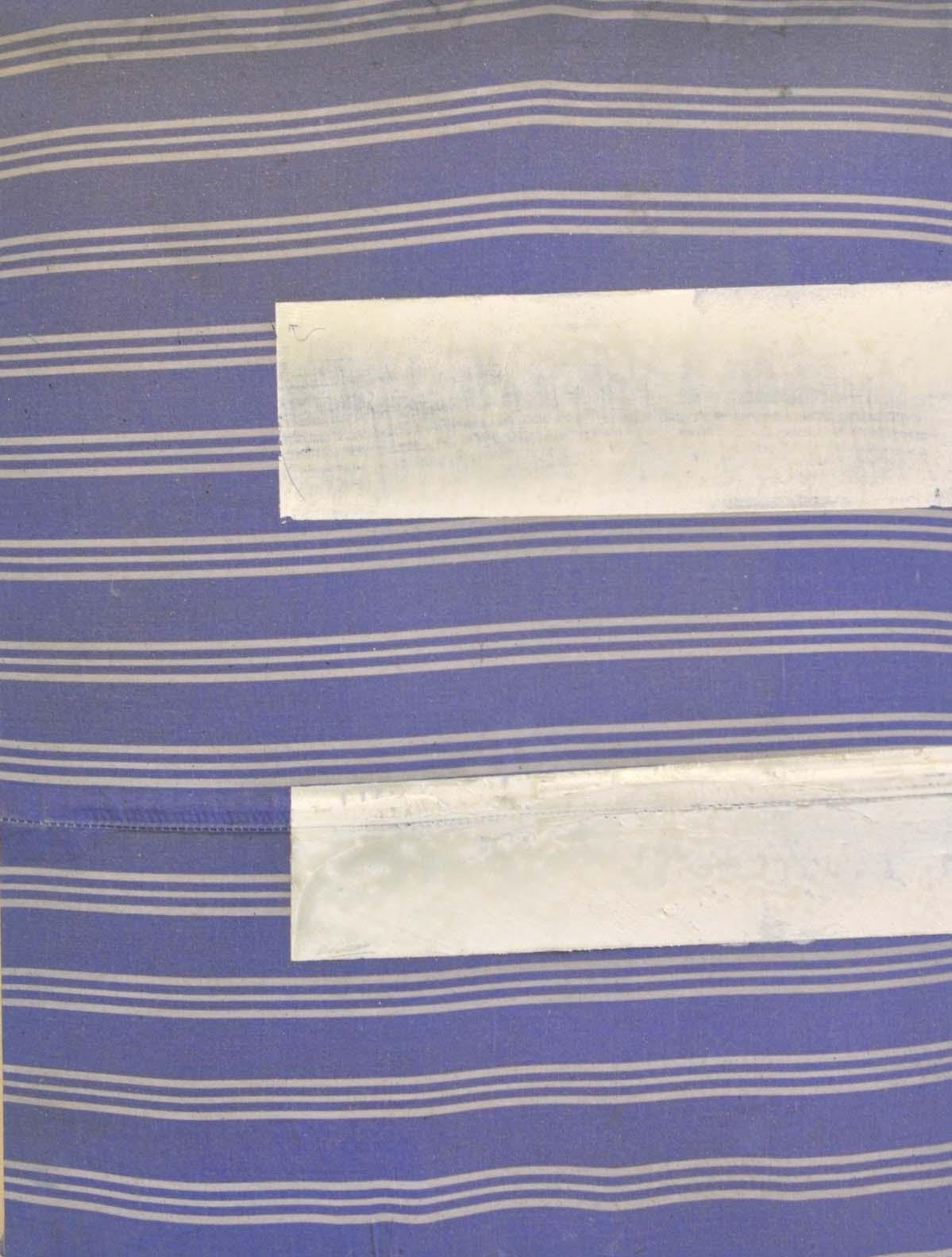 Jodi Hays, E, oil on found fabric over panel, 16