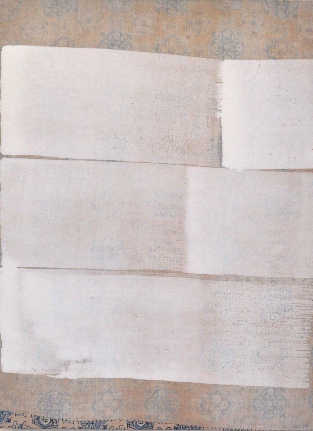 Jodi Hays, Five, oil on sewn found fabric over panel, 2019