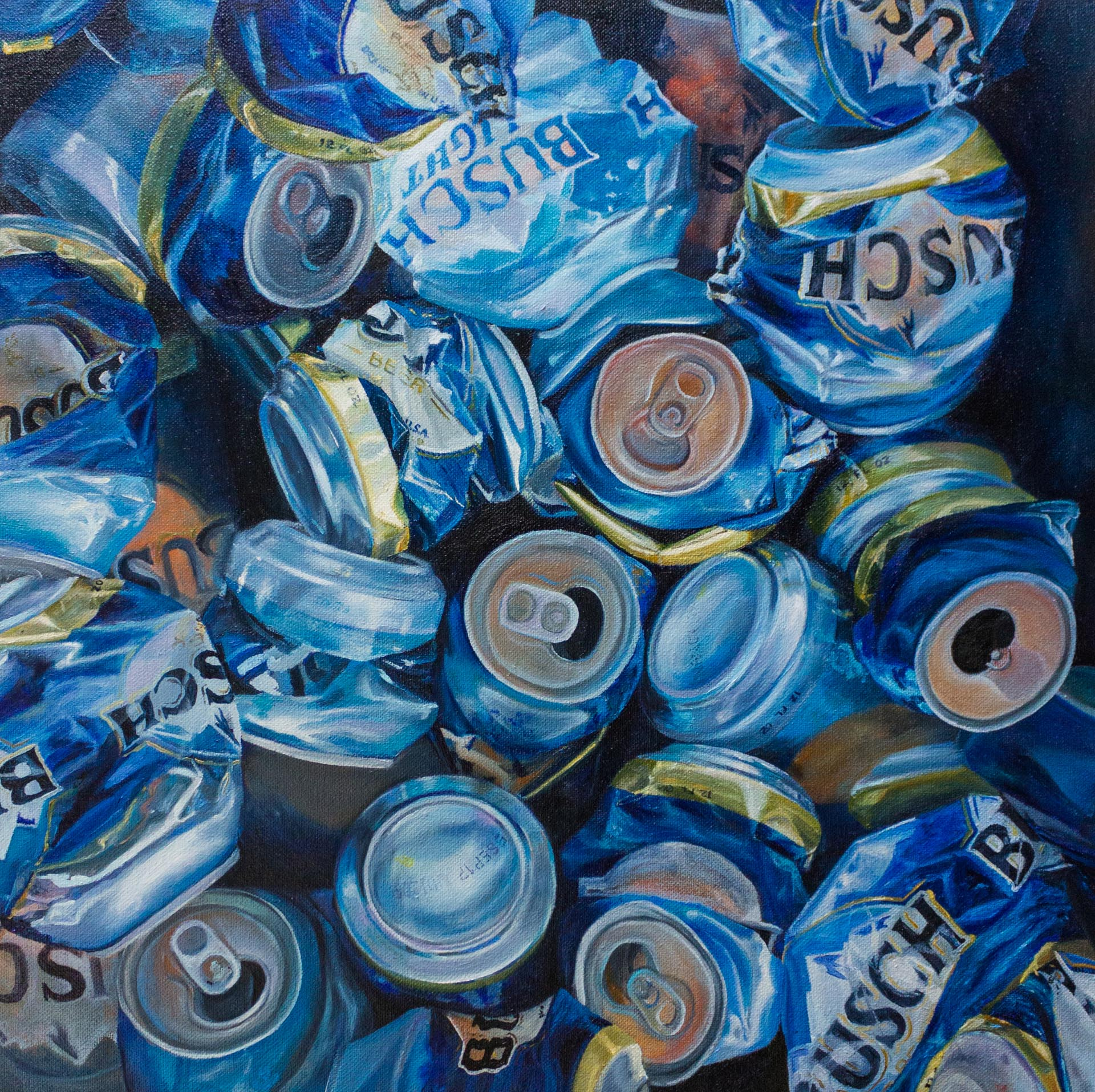 Nancy Drinks Busch, 2017, Oil on Canvas, 15x15