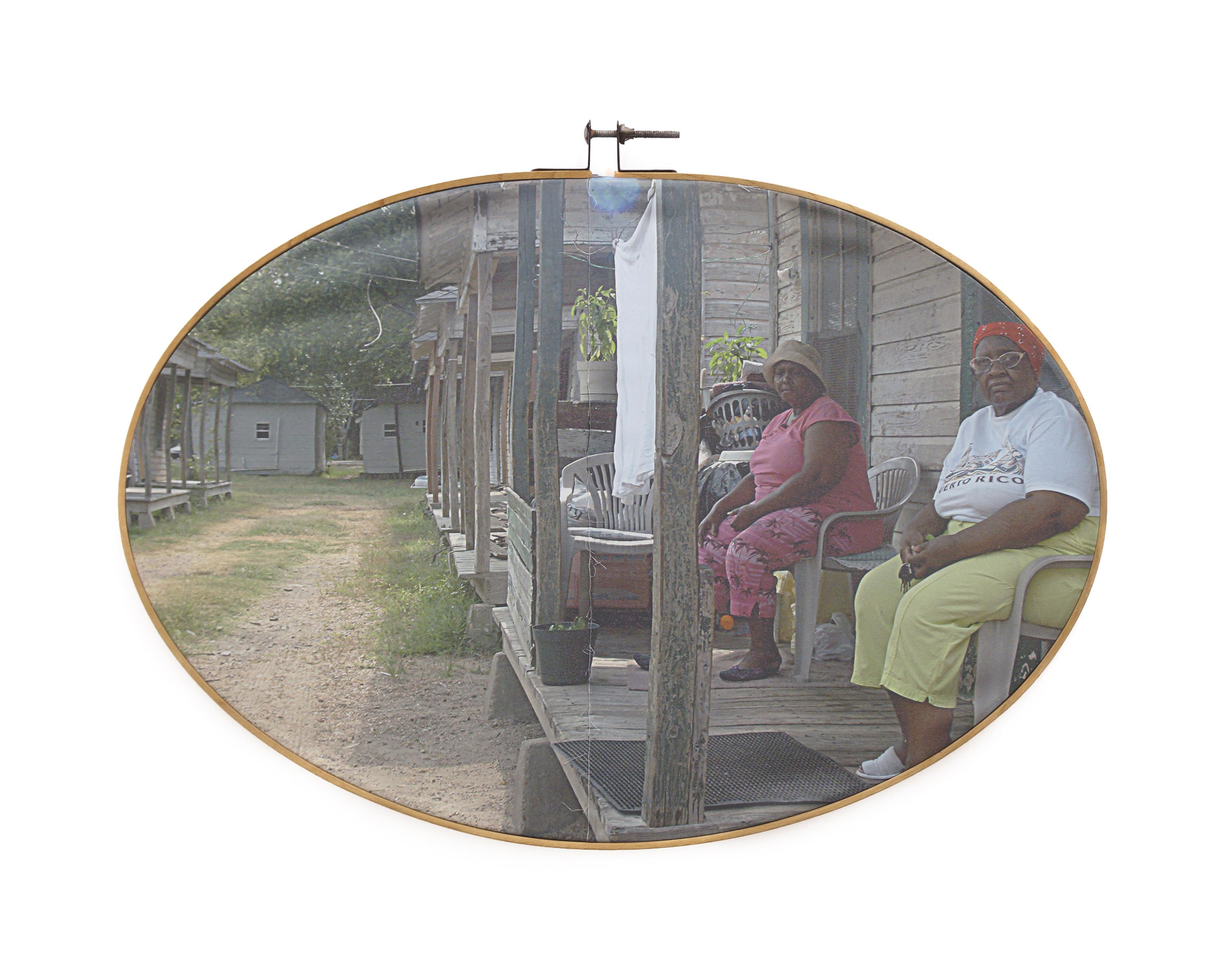 "Old Slave Quarters 2017 pigment print on fabric with vintage embroidery hoop 26"" w x 19"" h"