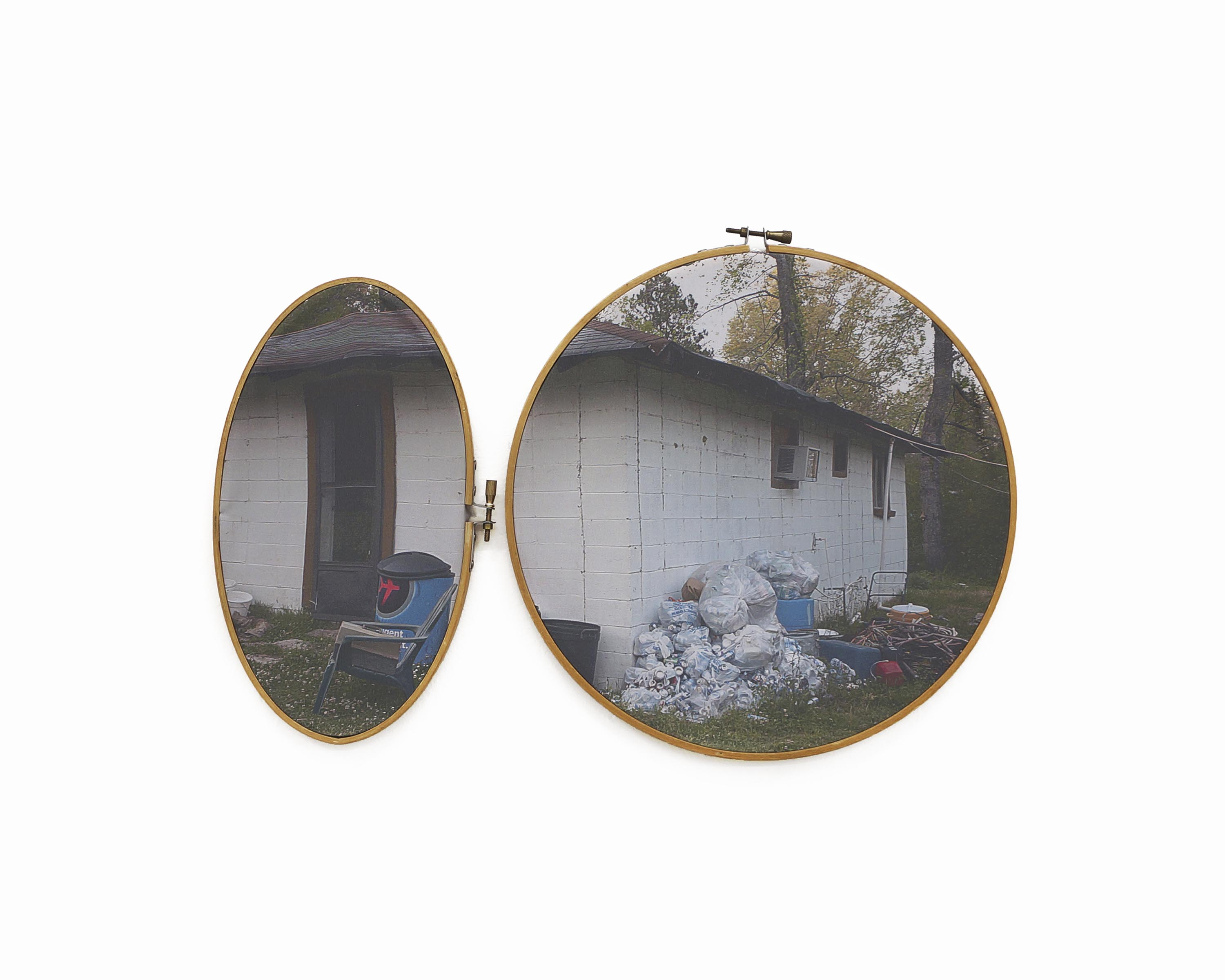 "Bud's House 2017 pigment print on fabric with vintage embroidery hoop 10 ¾"" h x 16 ½"" w"