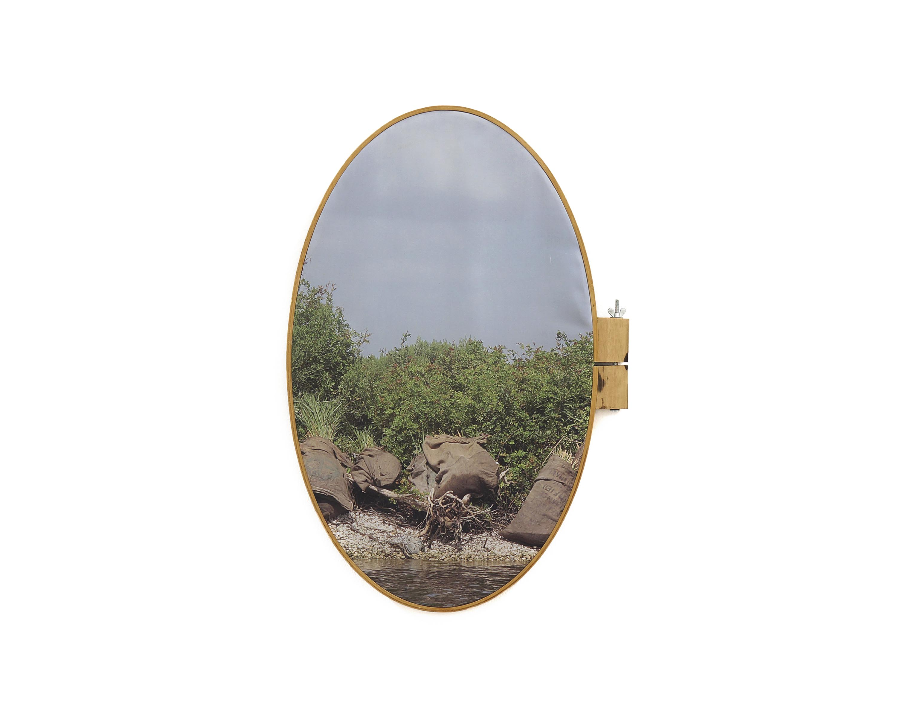 "Bayou L'Ours 2017 pigment print on fabric with vintage embroidery hoop 27 ½"" h x 14"" w"