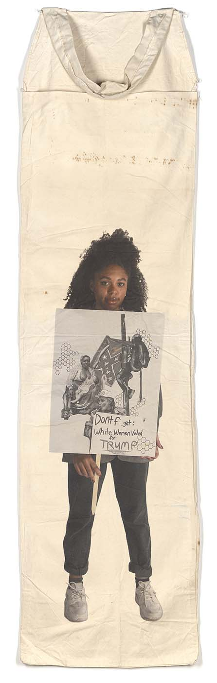 "Ari B.: White Women Voted for Trump Pigment Print on Vintage Cotton Picking Sack 110"" x 27"" 2019"