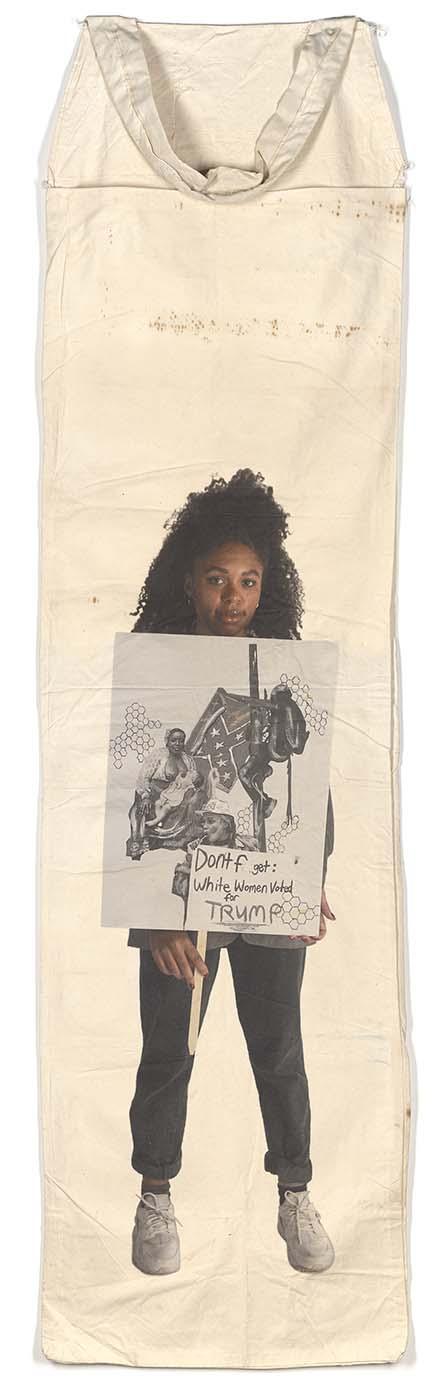 """Ari B.: White Women Voted for Trump Pigment Print on Vintage Cotton Picking Sack 110"""" x 27"""" 2019"""