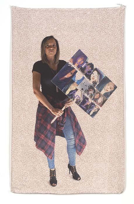 Jessica Bell: Who Am I? Pigment Print on Vintage Flour Sack 36.5 x 21.5