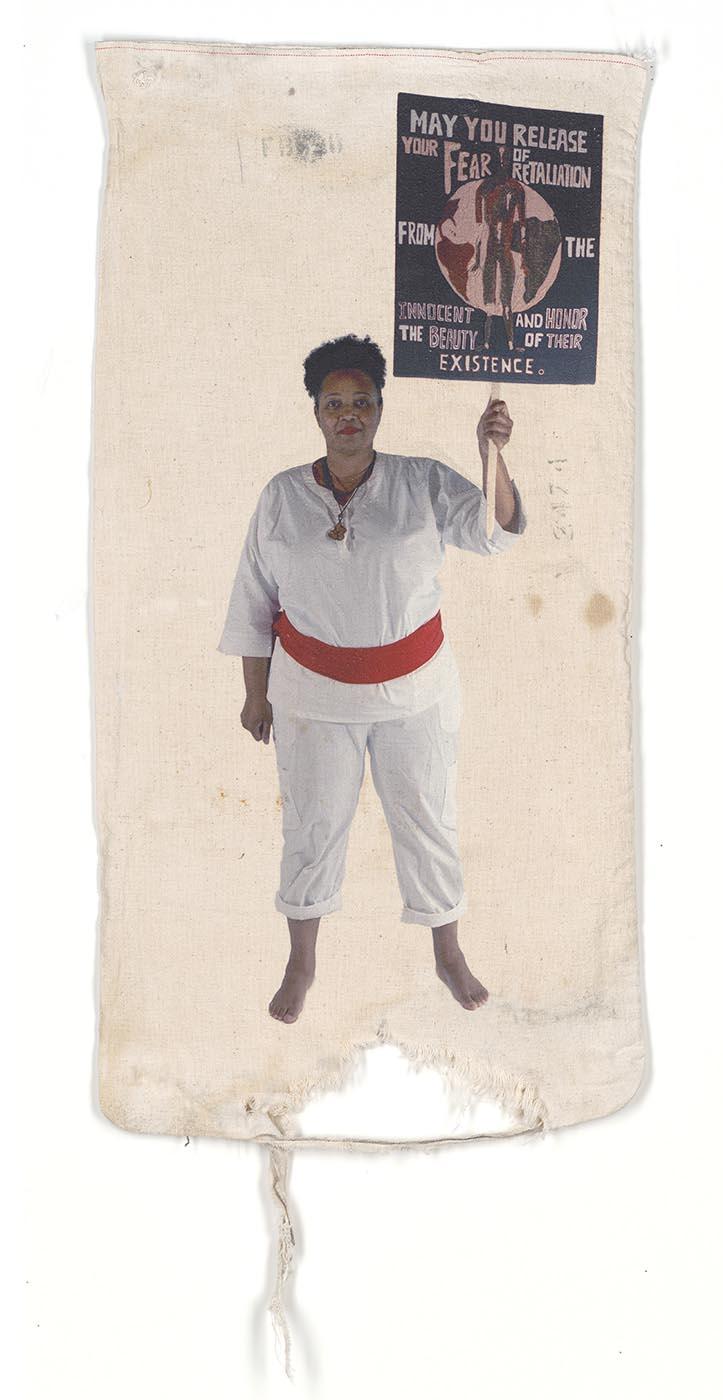 Kijana Martin: Fear of Beauty Pigment Print on Vintage Flour Sack 29