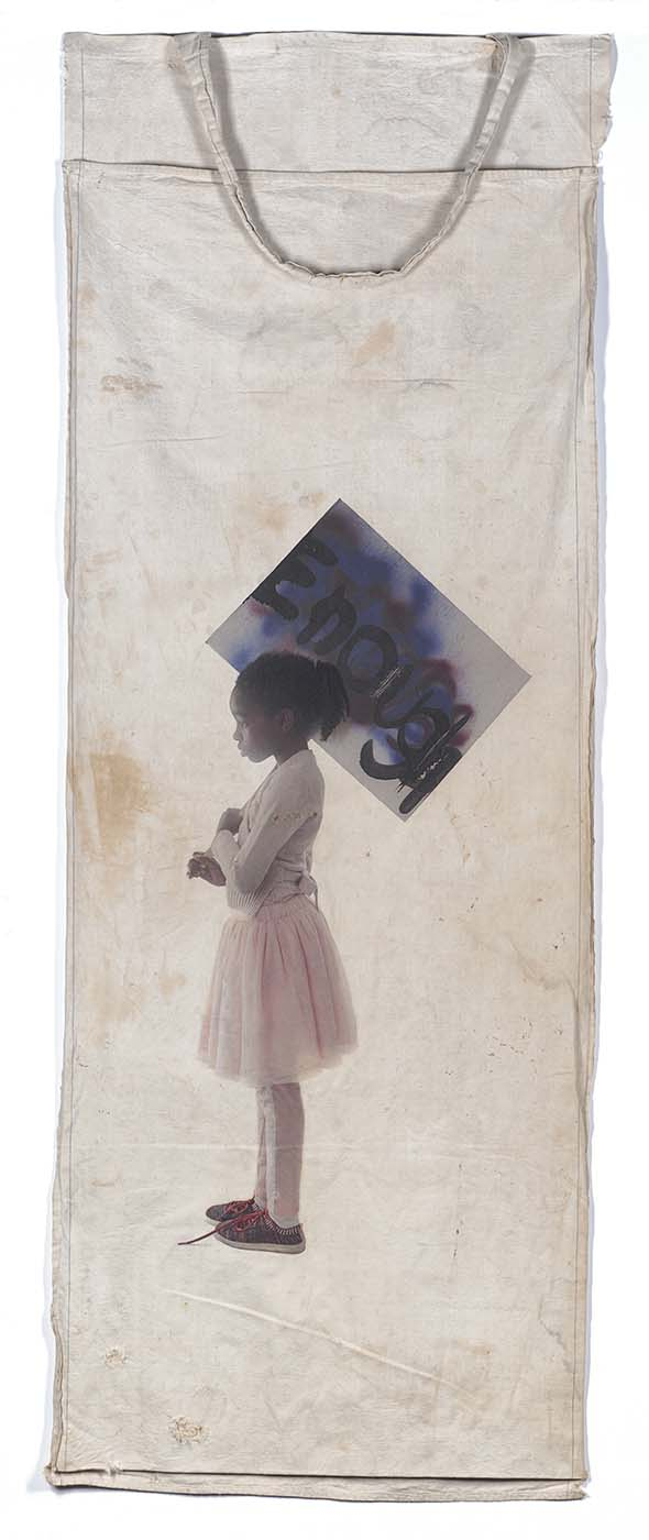 Sugar and Spice Pigment Print on Vintage Cotton Picking Sack 6' x 2' 2018