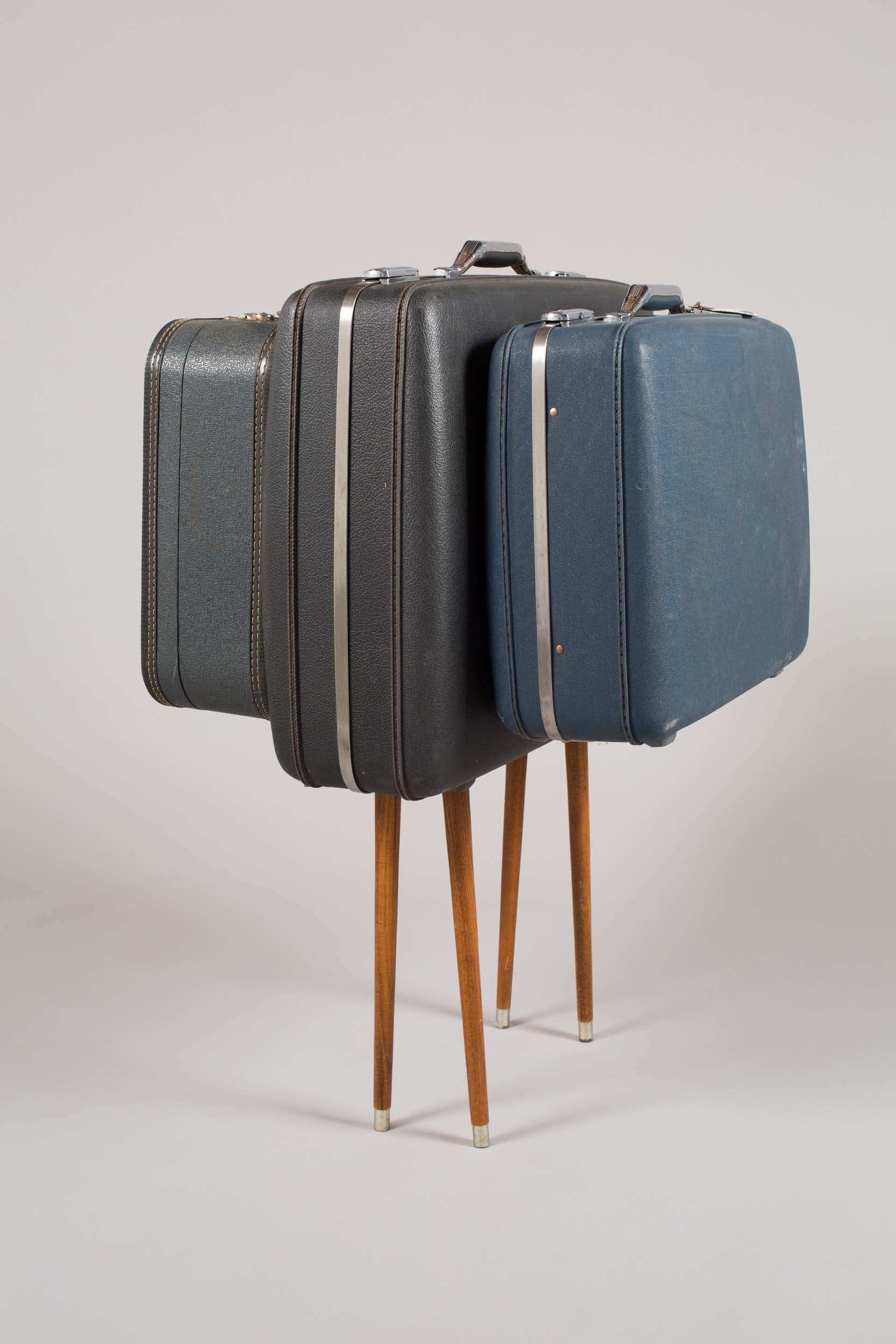 "Mark Baugh-Sasaki, Mule Suitcases and wooden legs 40"" x 36"" x 30"" 2019"