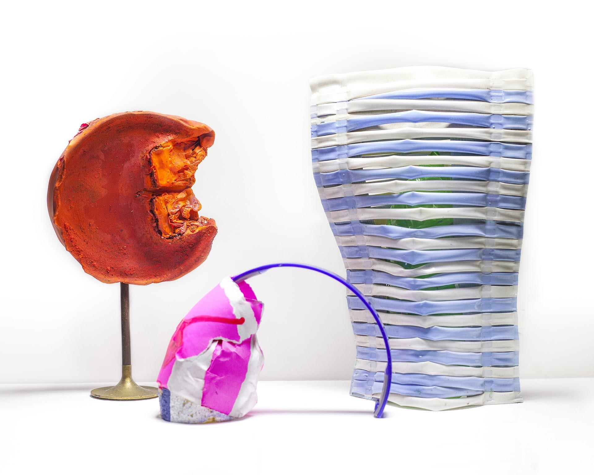 """Marta Rodriguez Maleck, Grumpy Cat, 2017, paper, plastic, foam, metal, latex paint, acrylic, 18"""" x 15"""" x 9"""""""