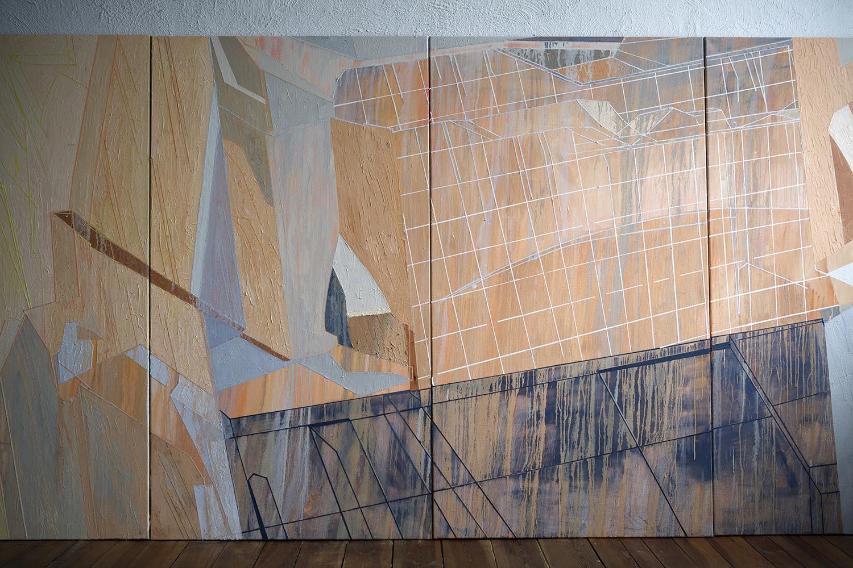 Natacha Mankowski, Monument #3, 2017, oil on canvas, 600x180 cm