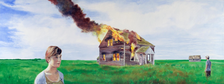 Title: American Decadence (Codington County, South Dakota) Year: 2011 Medium: Oil on Canvas Dimensions: 24 x 64 inches