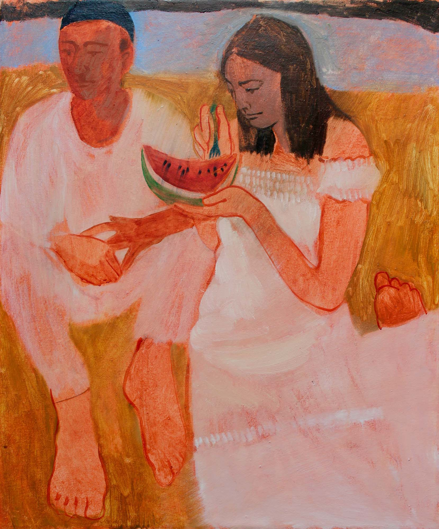 Nettle Grellier, 'You me and my melon' oil on canvas, 60x50cm February 2019