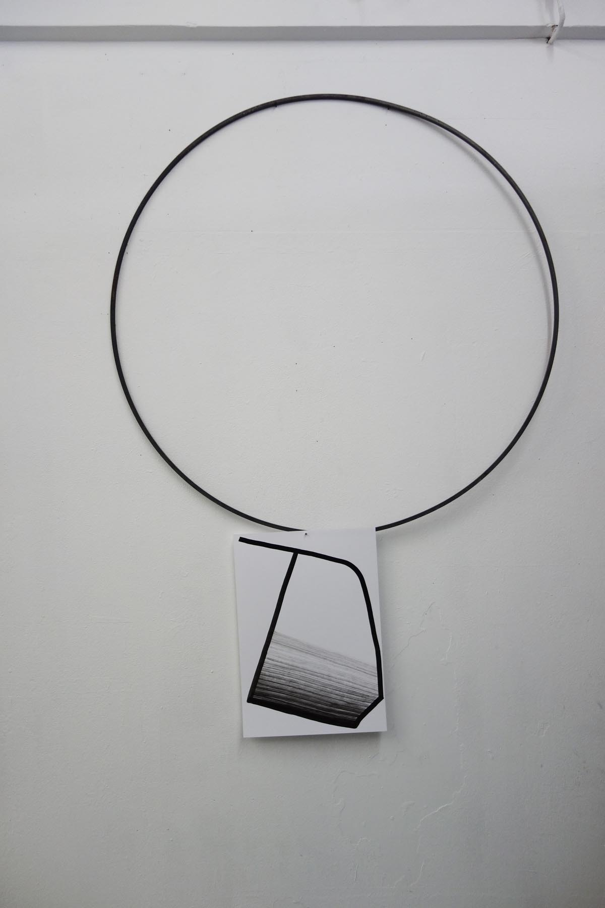 Nina Annabelle Maerkl, Permeable Entities, 2016, Installation view, Artothek Munich: Drawings: Ink on paper, cutouts Objects: Glass, polished steel, wood. Size flexible.