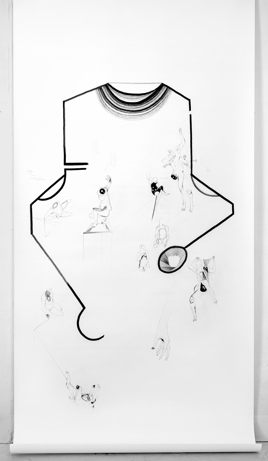 Nina Annabelle Maerkl, Permeable Entities, 2016, installation view: Bowl of glass, drawing (ink on paper), cutouts, polished steel, wood. 200 x 60 x 60 cm