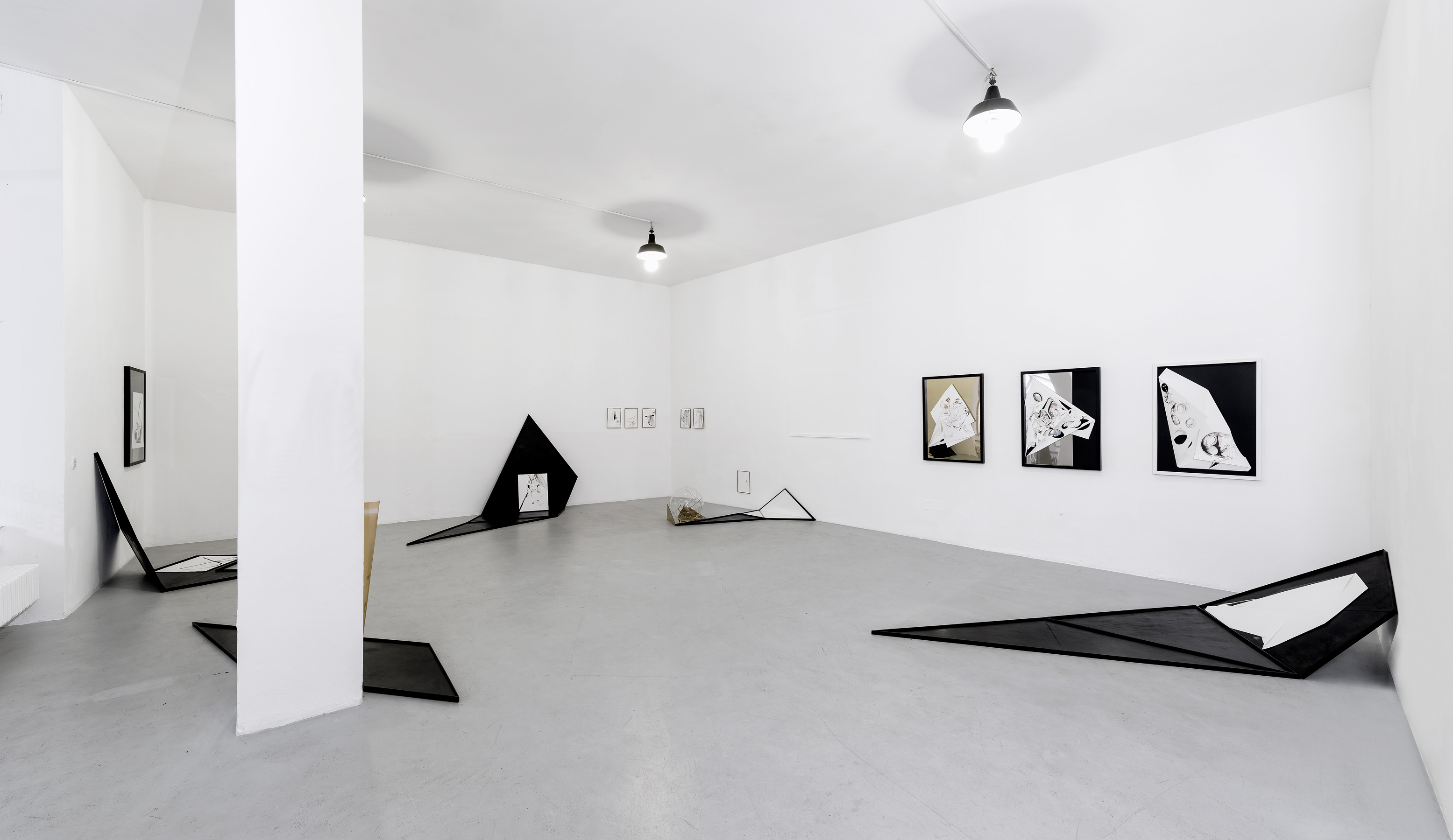 Nina Annabelle Maerkl, Frames, 2018, Installation view, Gallery of the artists Munich, welded steel, ink on paper, cutouts, 250 x 800 x 30 cm, each about 220 x 100 x 30 cm.