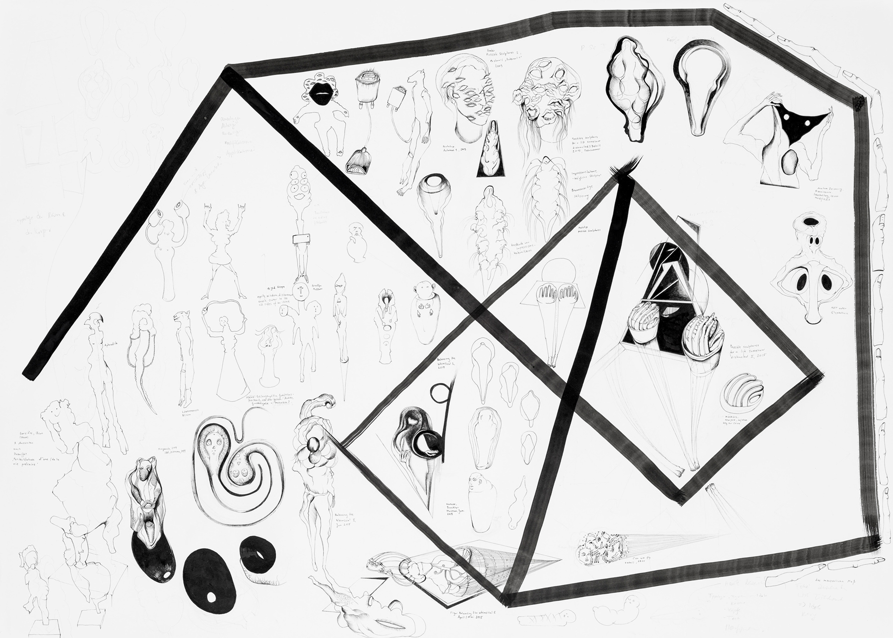Nina Annabelle Maerkl, Display 1, 2017, ink and pencil on paper, 270 x 135 cm