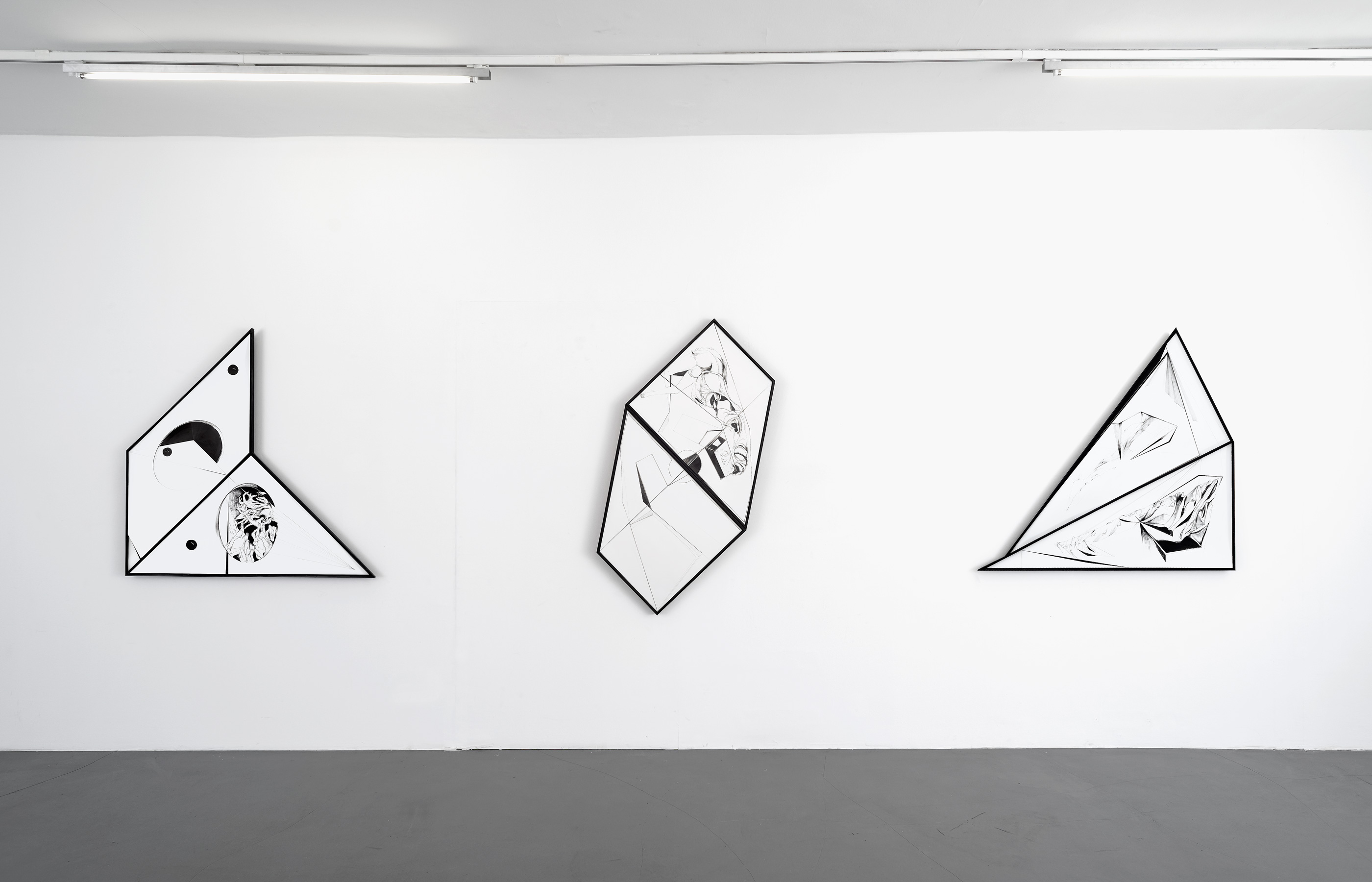 Nina Annabelle Maerkl, Scapes, 2016/2017, ink on paper, cutouts, wood, each approx. 120 x 120 x 7 cm / 120 x 150 x 7 cm