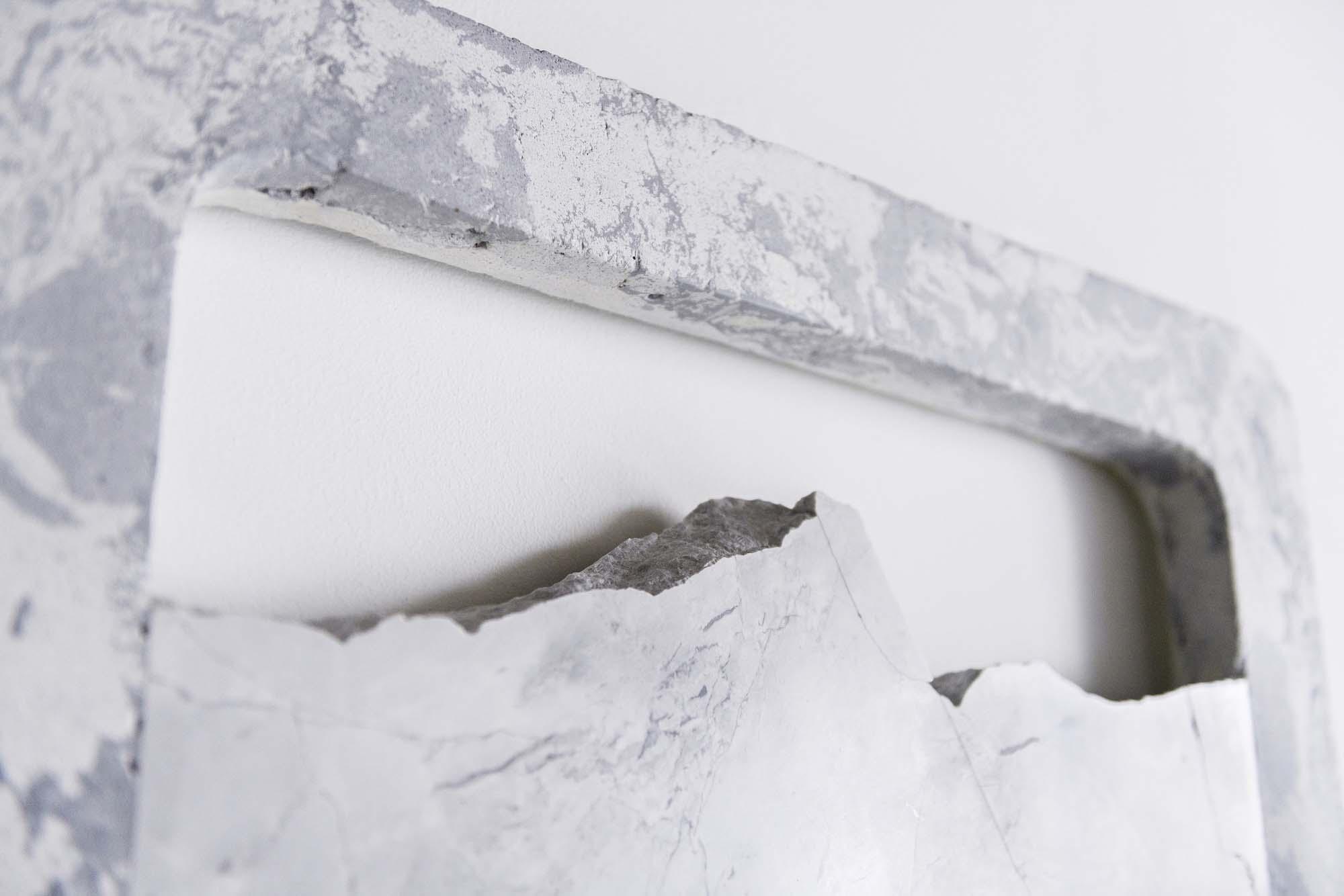 Rachel Mica Weiss, Bound Landscape I (detail). 2018. Cast concrete, pigment, marble. 29