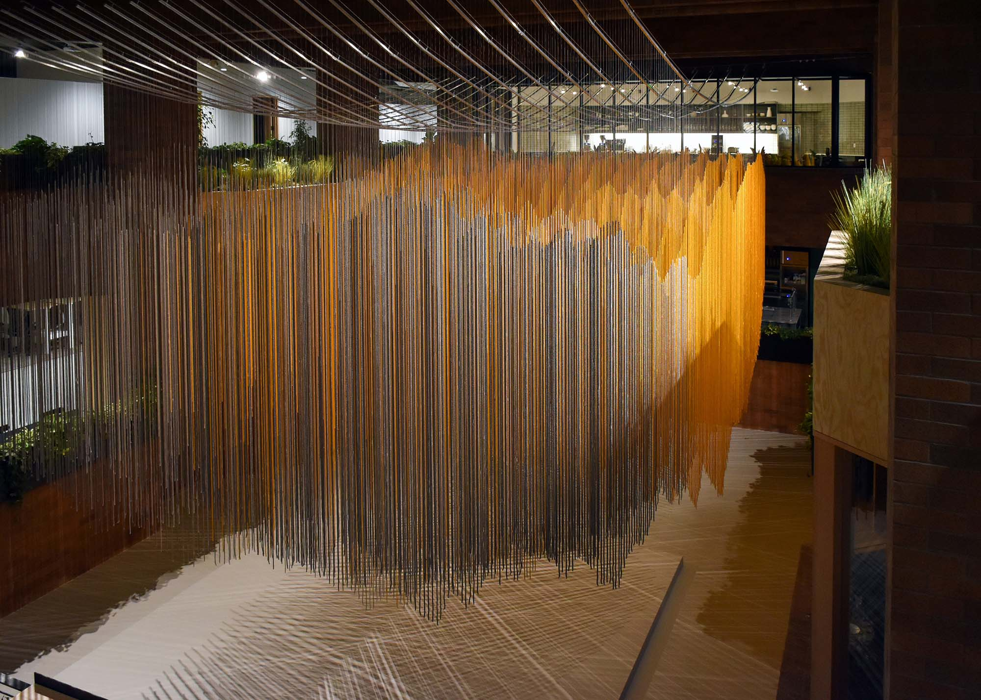 Rachel Mica Weiss, Reflected Topographies (Mount Rainier National Park). 2018. Dyed nylon rope, stainless steel cable, aluminum. Site Specific Installation. 20' x 36' x 22'.