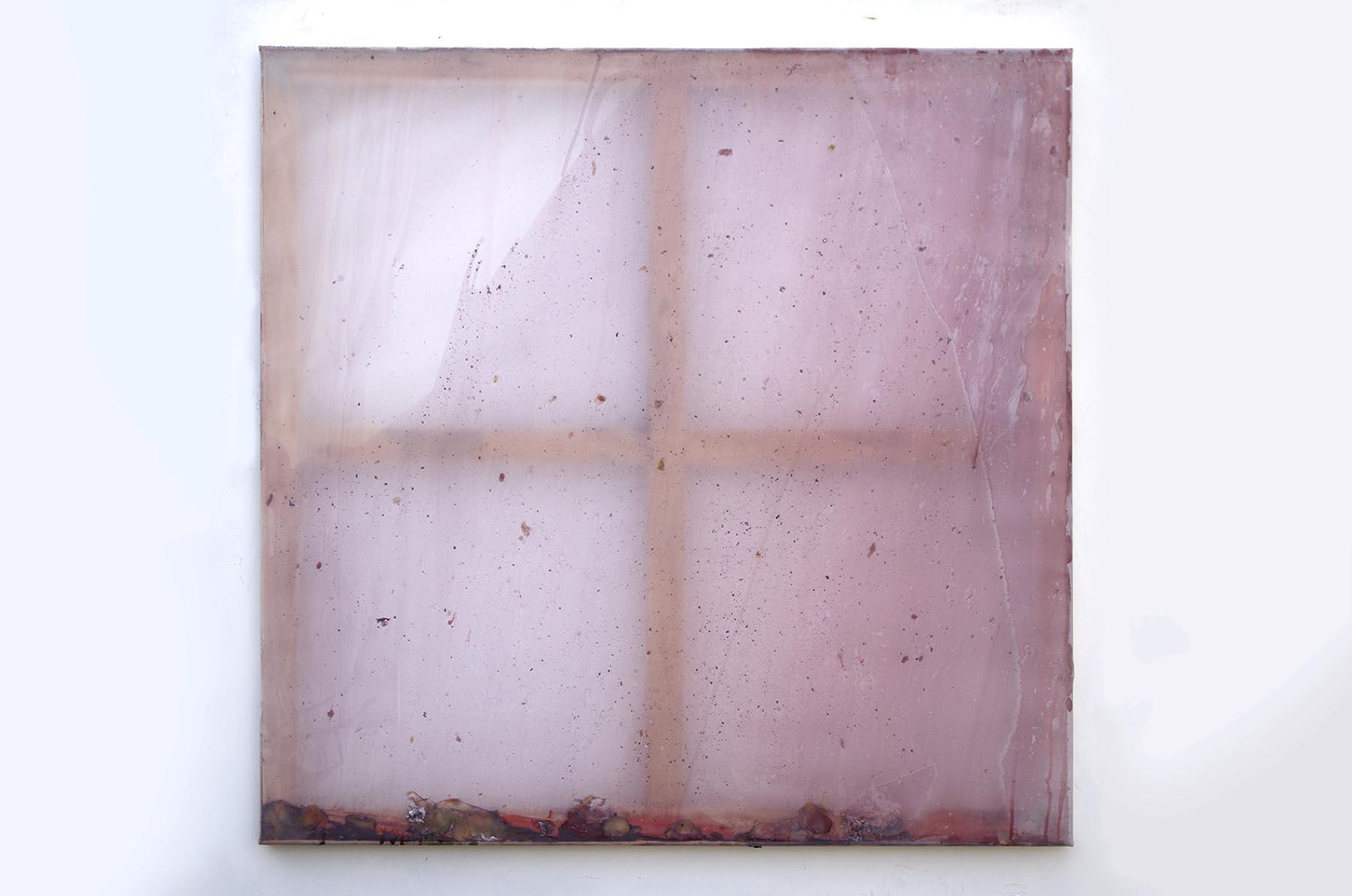 Rebecca Wallis, Deep sleep, 2018, acrylic and acrylic mediums behind silk over pine stretcher bars, 120x120x3.5cm