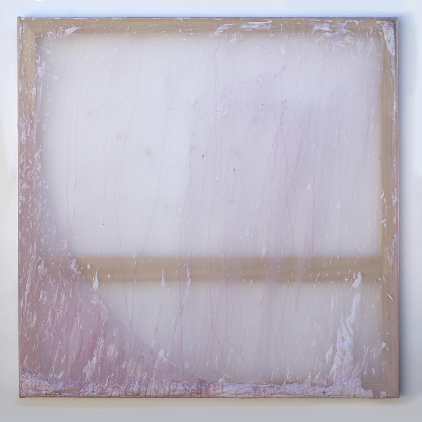 Rebecca Wallis, All I want, 2018, acrylic and acrylic mediums behind silk over pine stretcher bars, 100x100x3.5cm